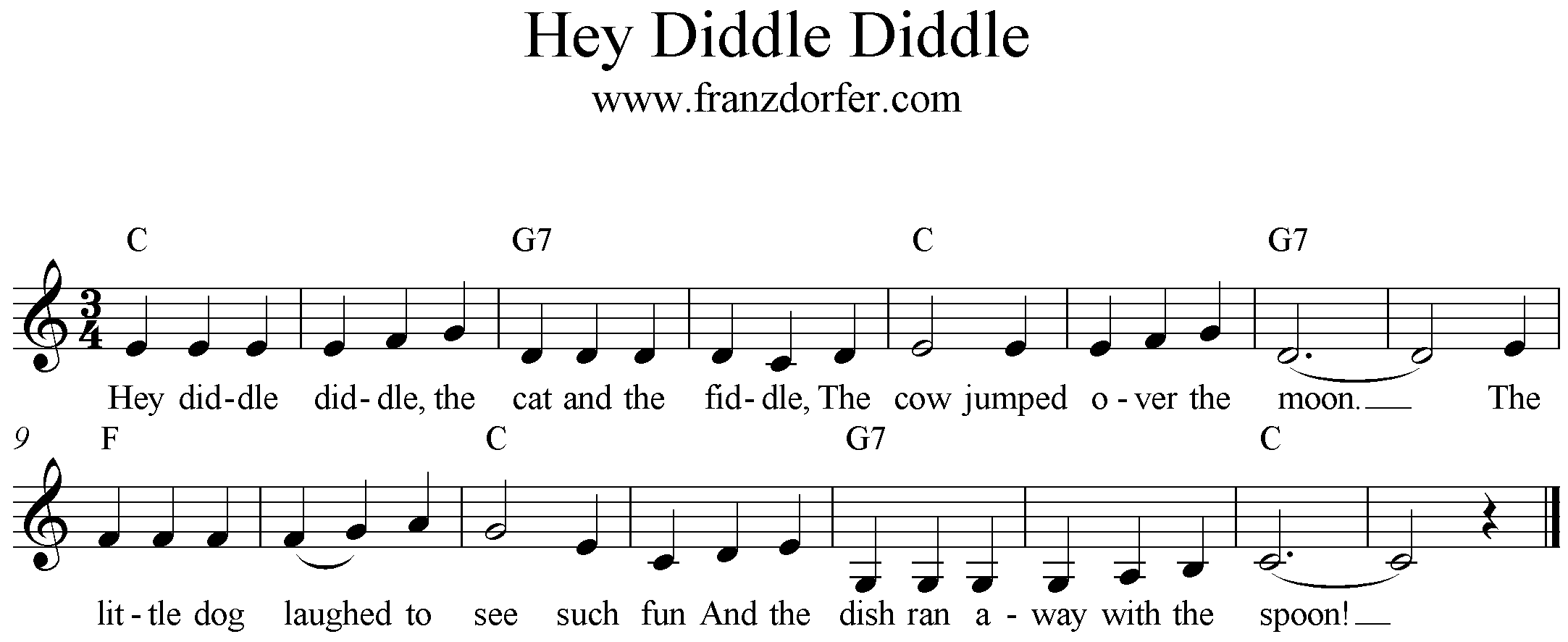 fresheet music Hey Diddle Diddle