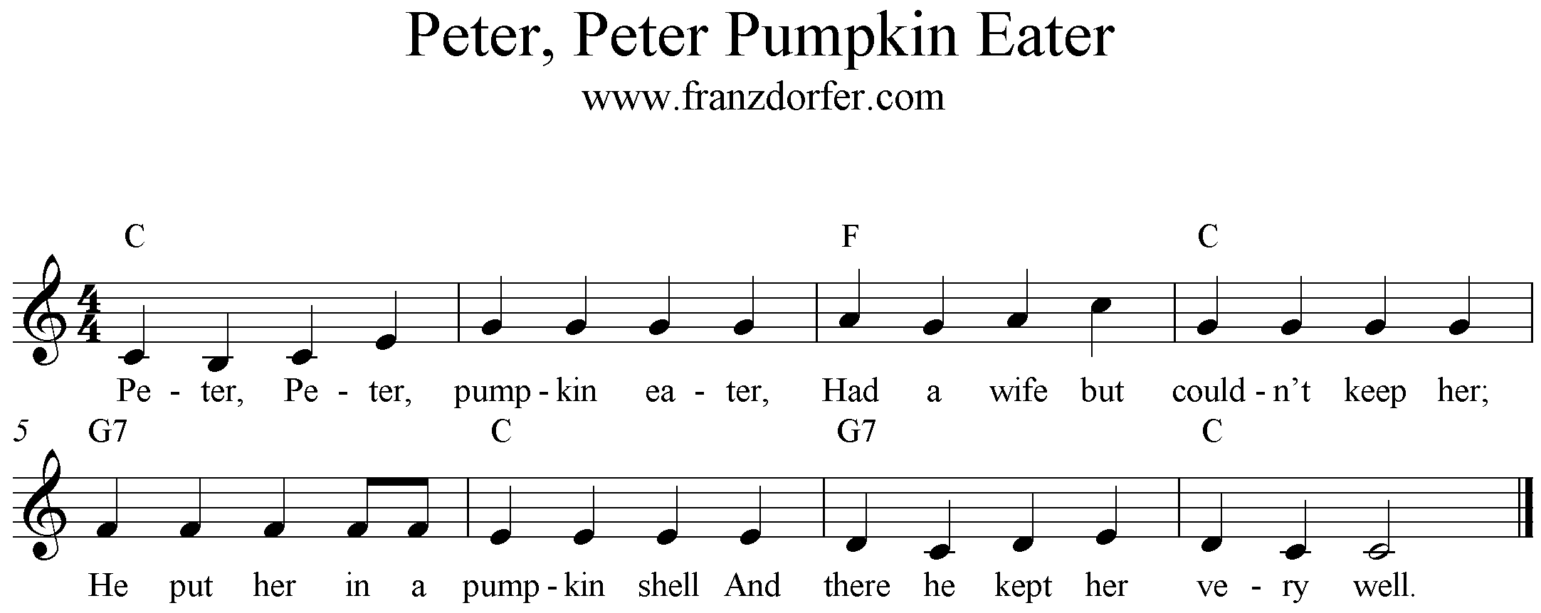 Freesheet Music Peter Peter Pumpkin Eater