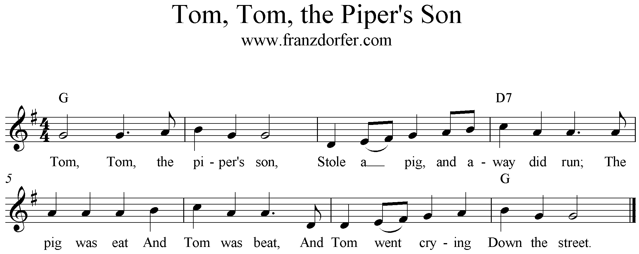 freesheet music Tom, Tom, The Piper's Son