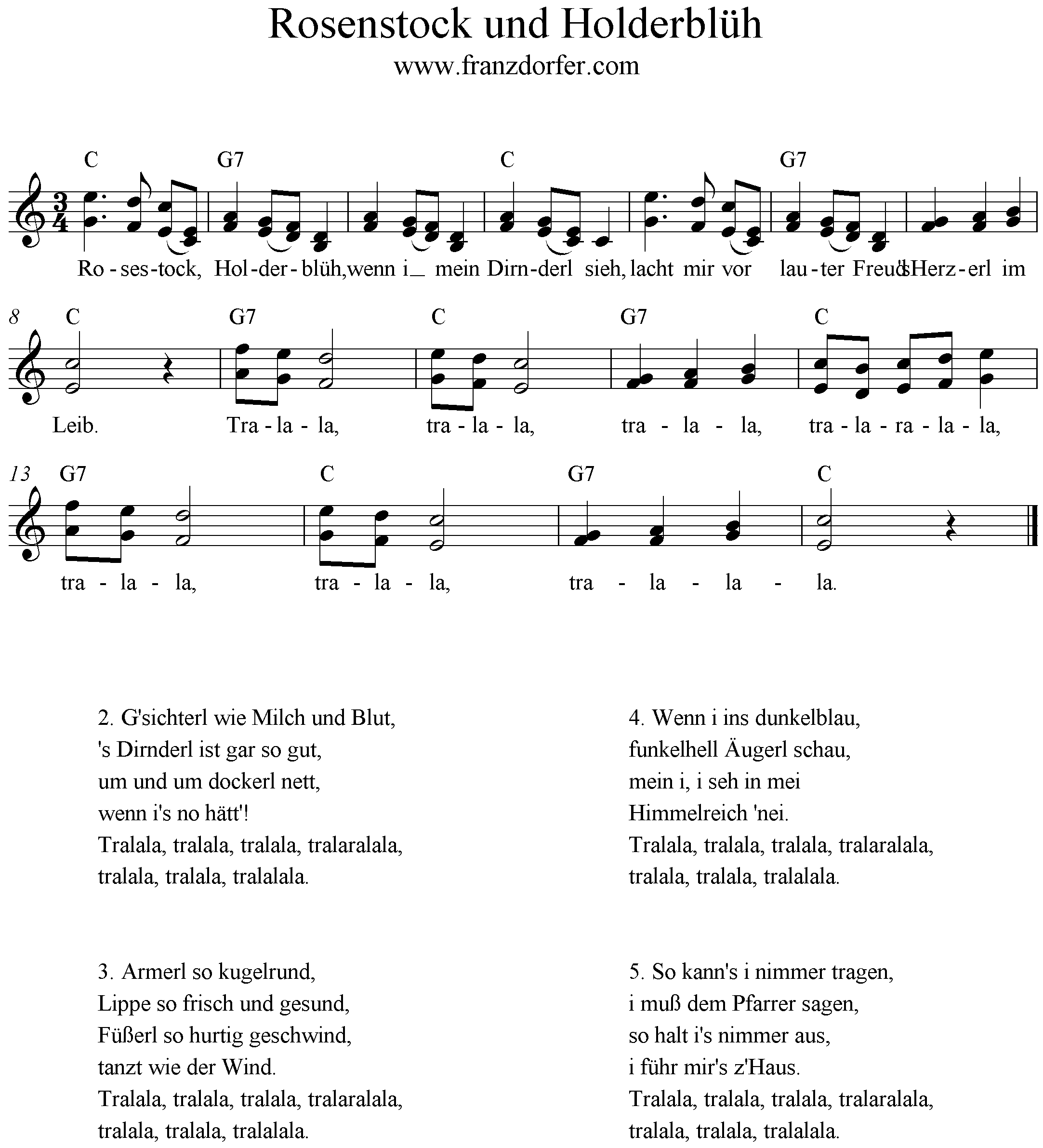Rosenstock und Holderblüh, 2stimmig, Duo, C-Dur