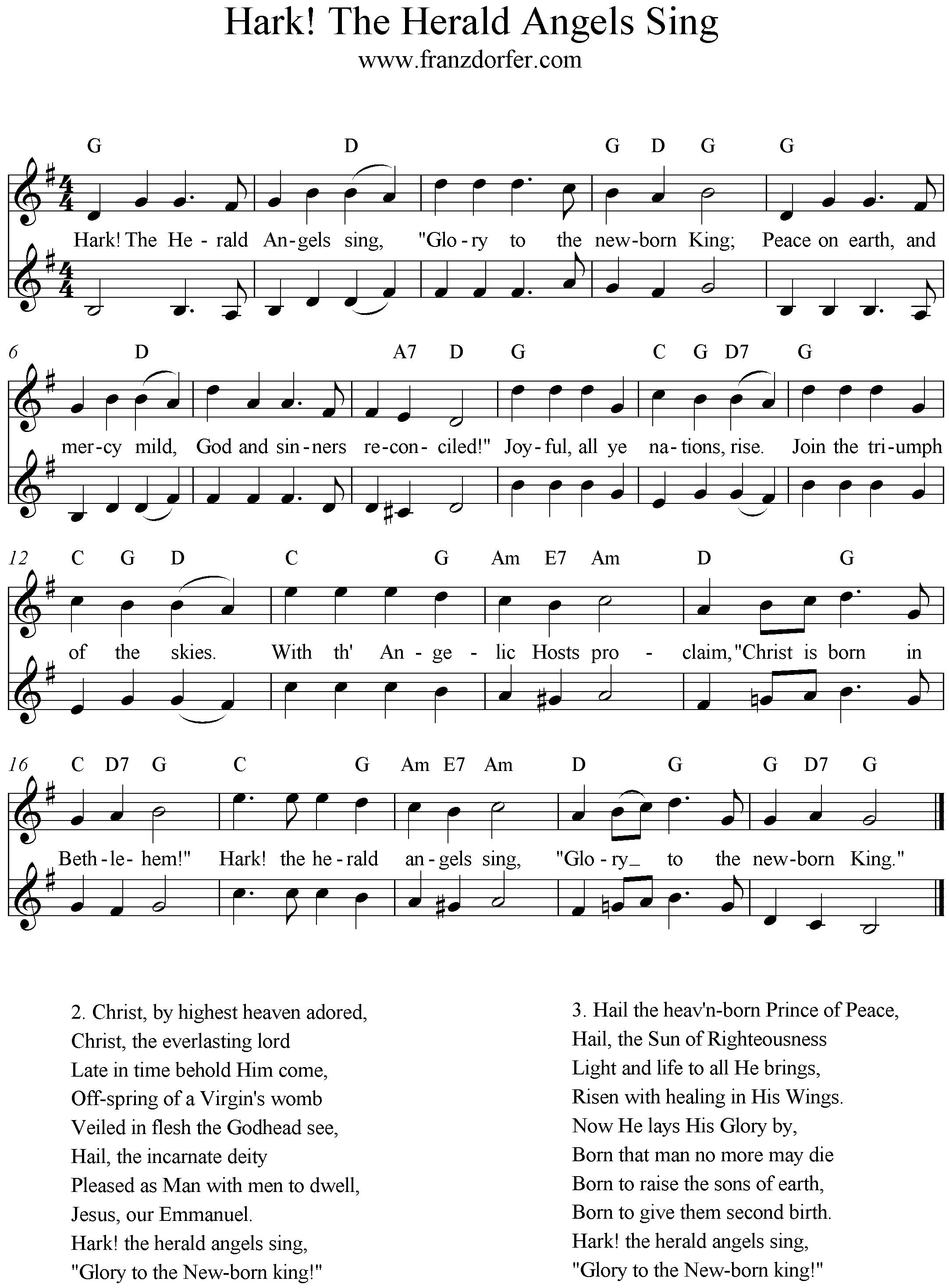 3 Stimmige Weihnachtslieder.Hark The Herolds Angels Sing 2stimmig