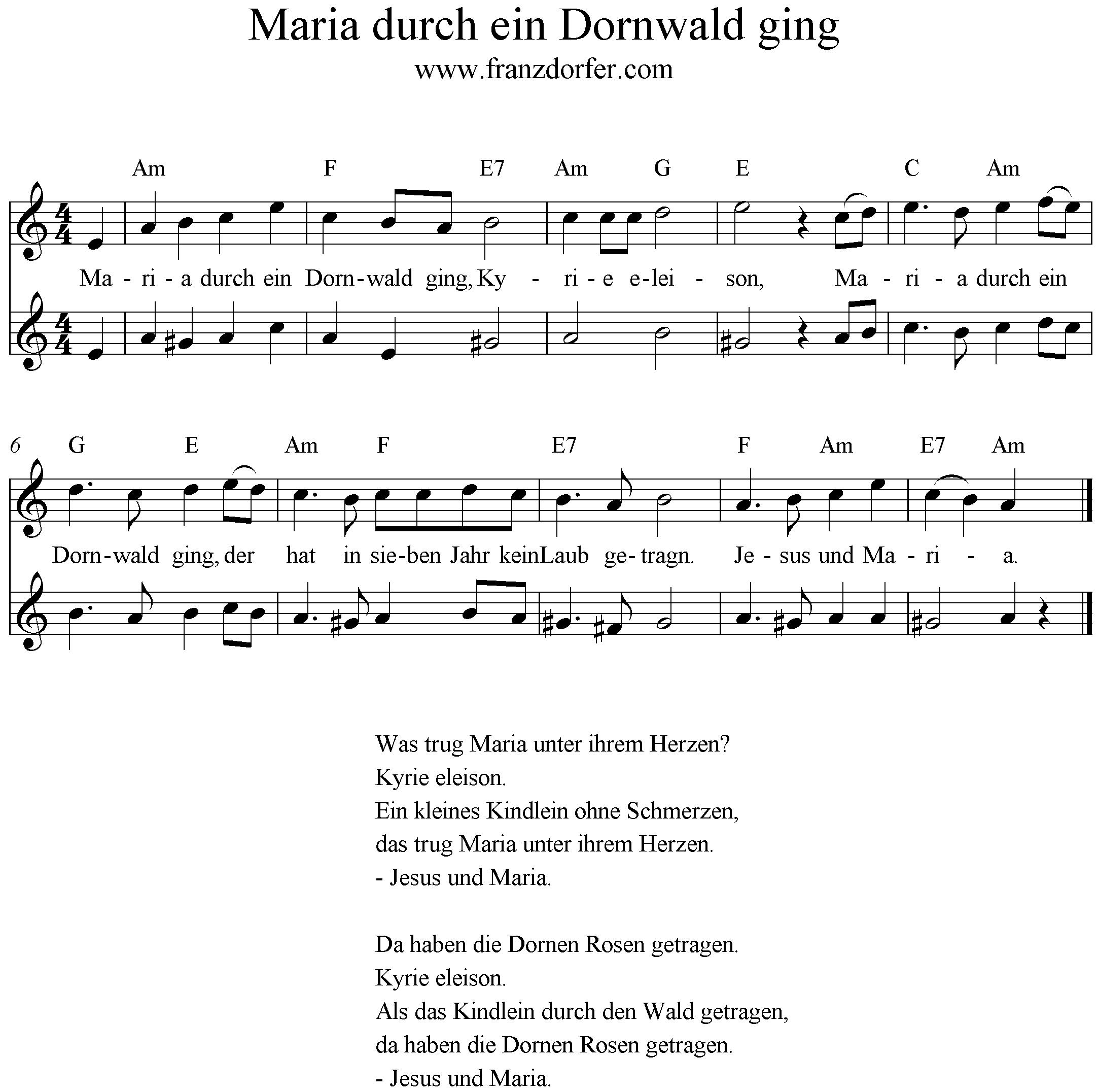 Maria Durch Ein Dornwald Ging Text