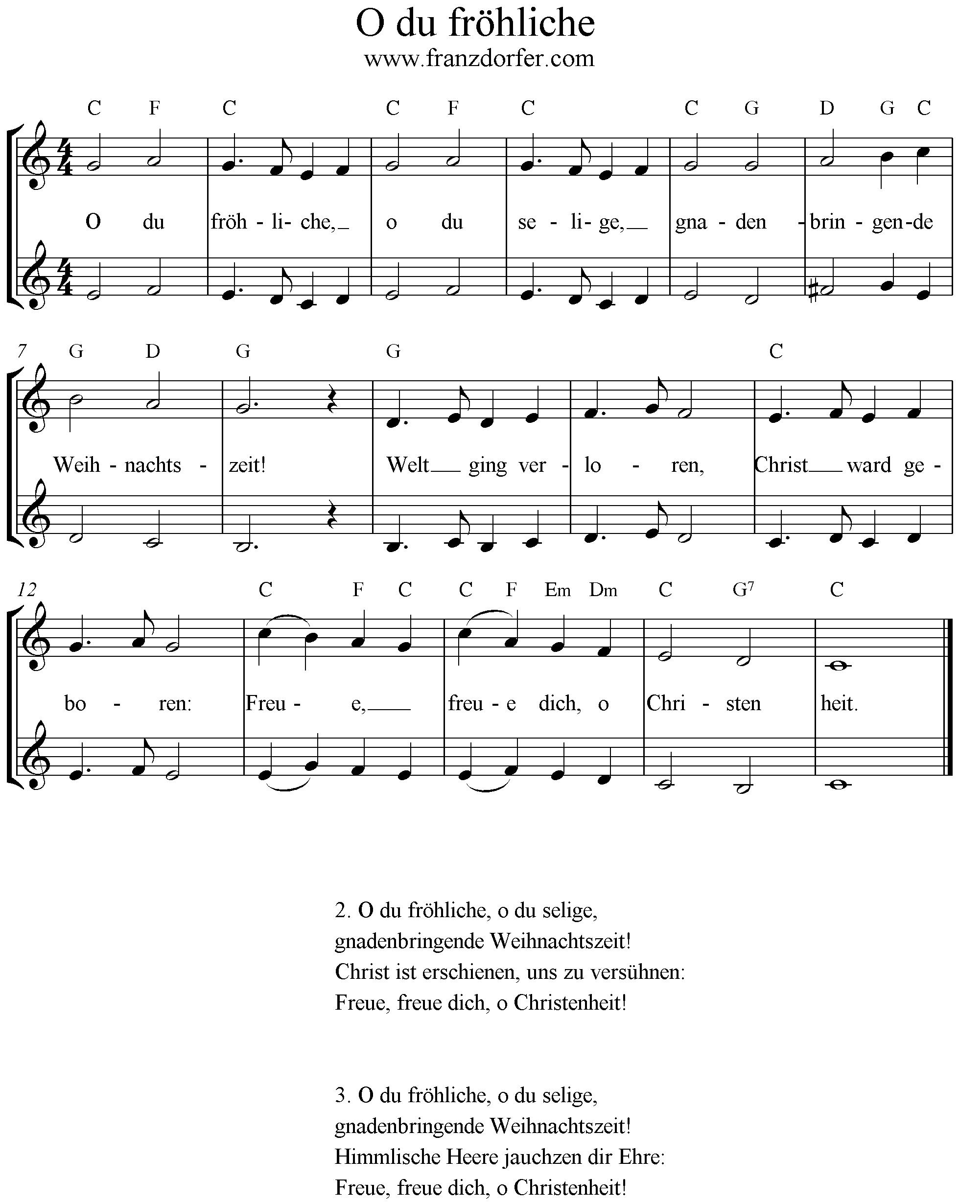 Glockenspiel Weihnachtslieder Noten Kostenlos.O Du Fröhliche