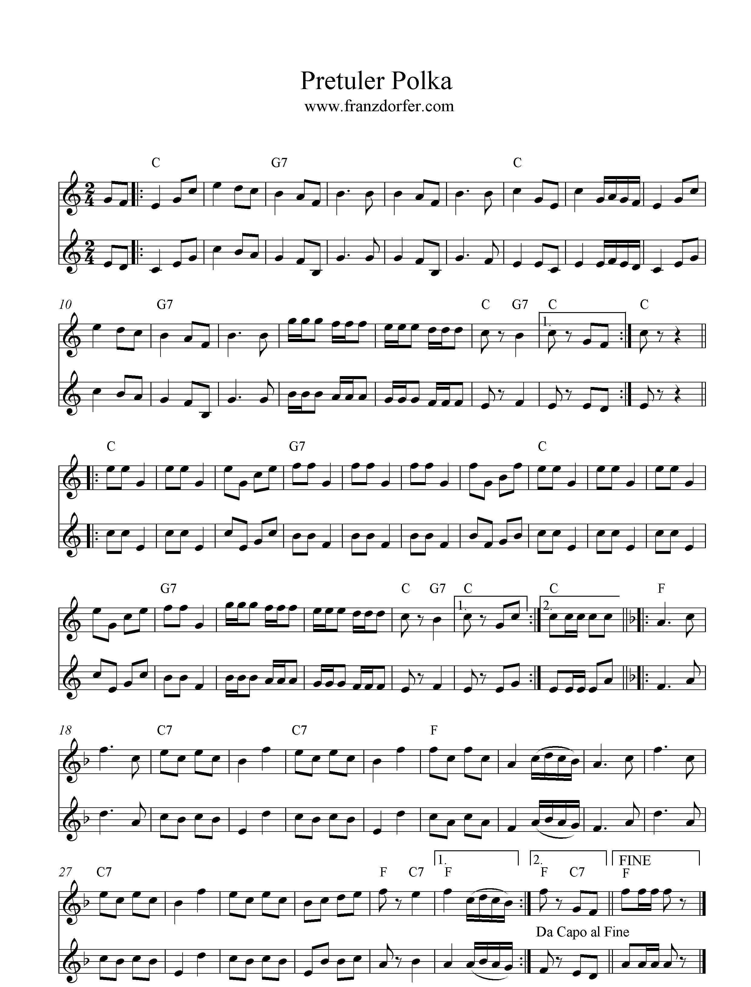 Pretuler Polka zwei Klarinetten