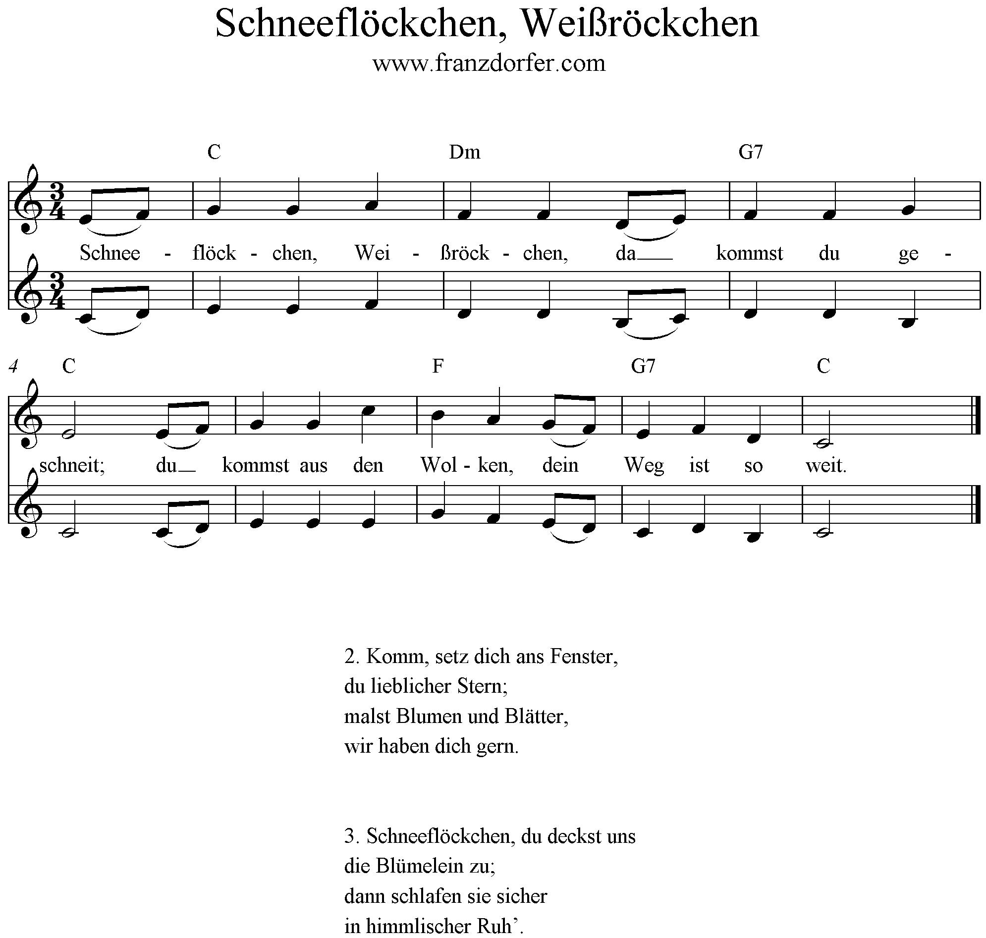 Text Schneeflöckchen Weißröckchen