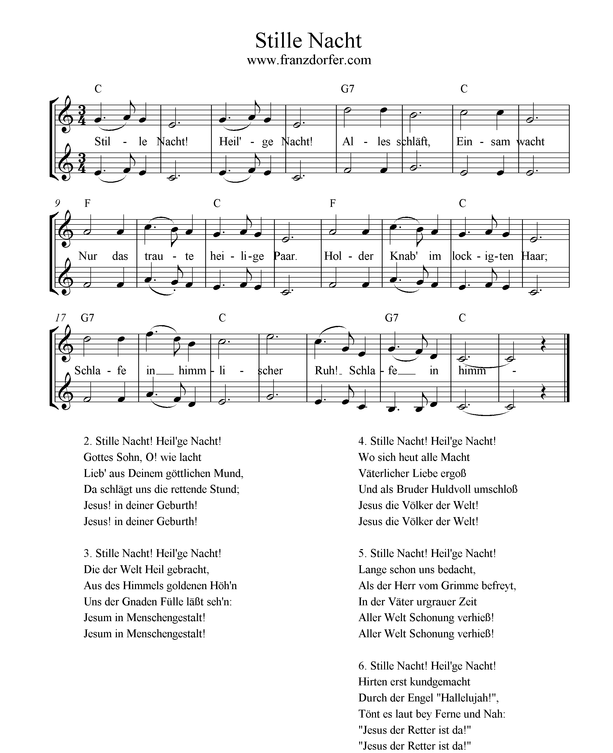 Glockenspiel Weihnachtslieder Noten Kostenlos.Stille Nacht 2stimmig
