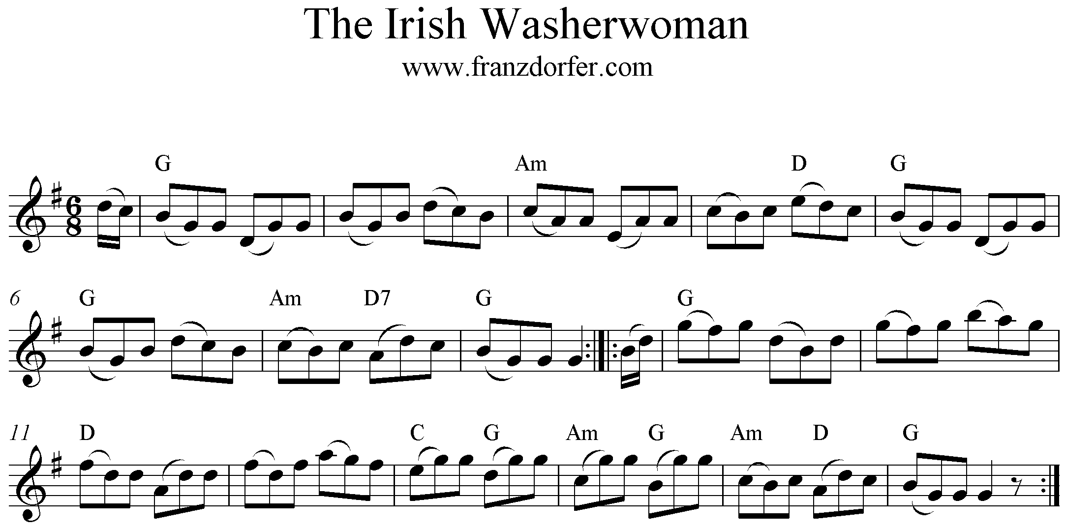 Freesheet Music The Irish Washerwoman