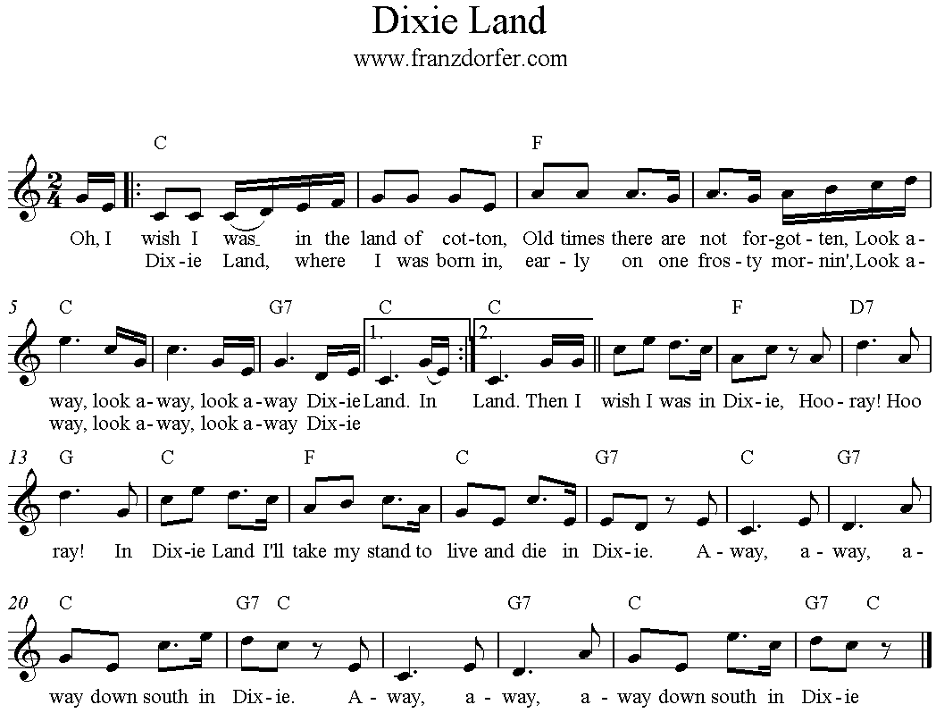 Noten Dixie Land