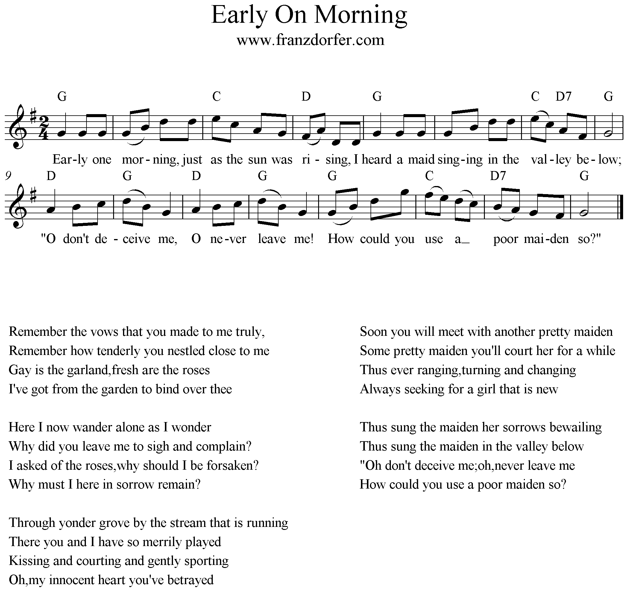 Early One Morning G-Major Noten