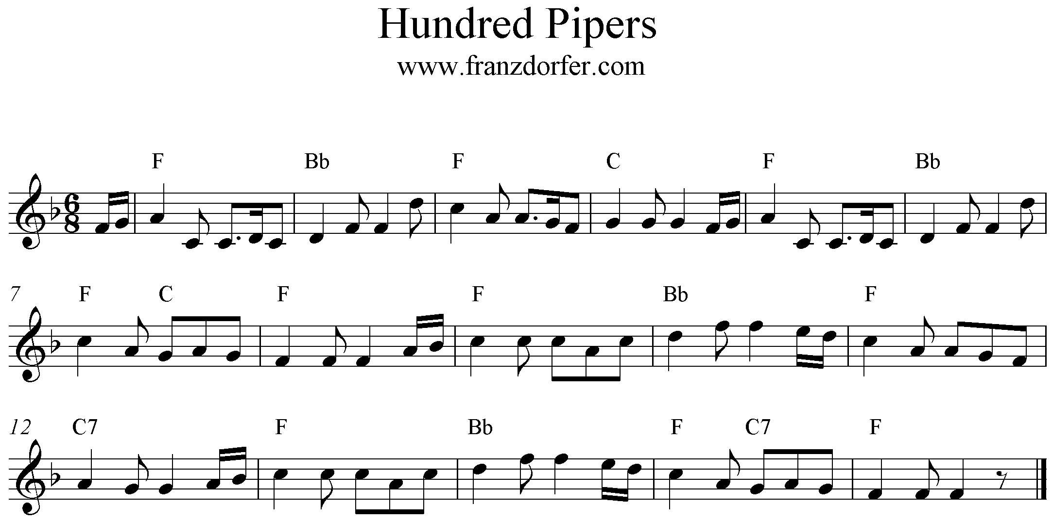 freesheet music 100 Pipers