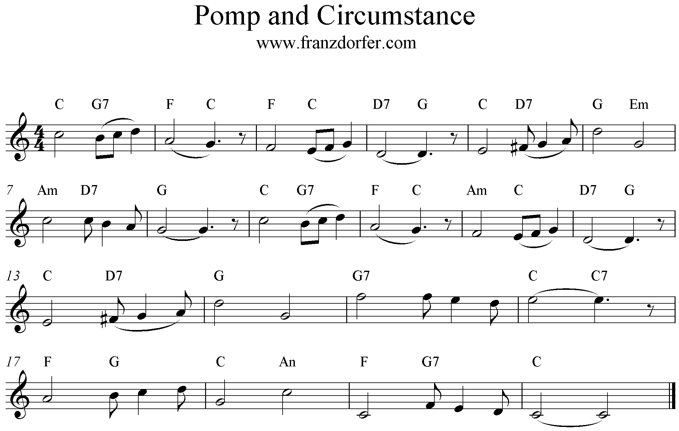 Noten Pomp and Circumstance