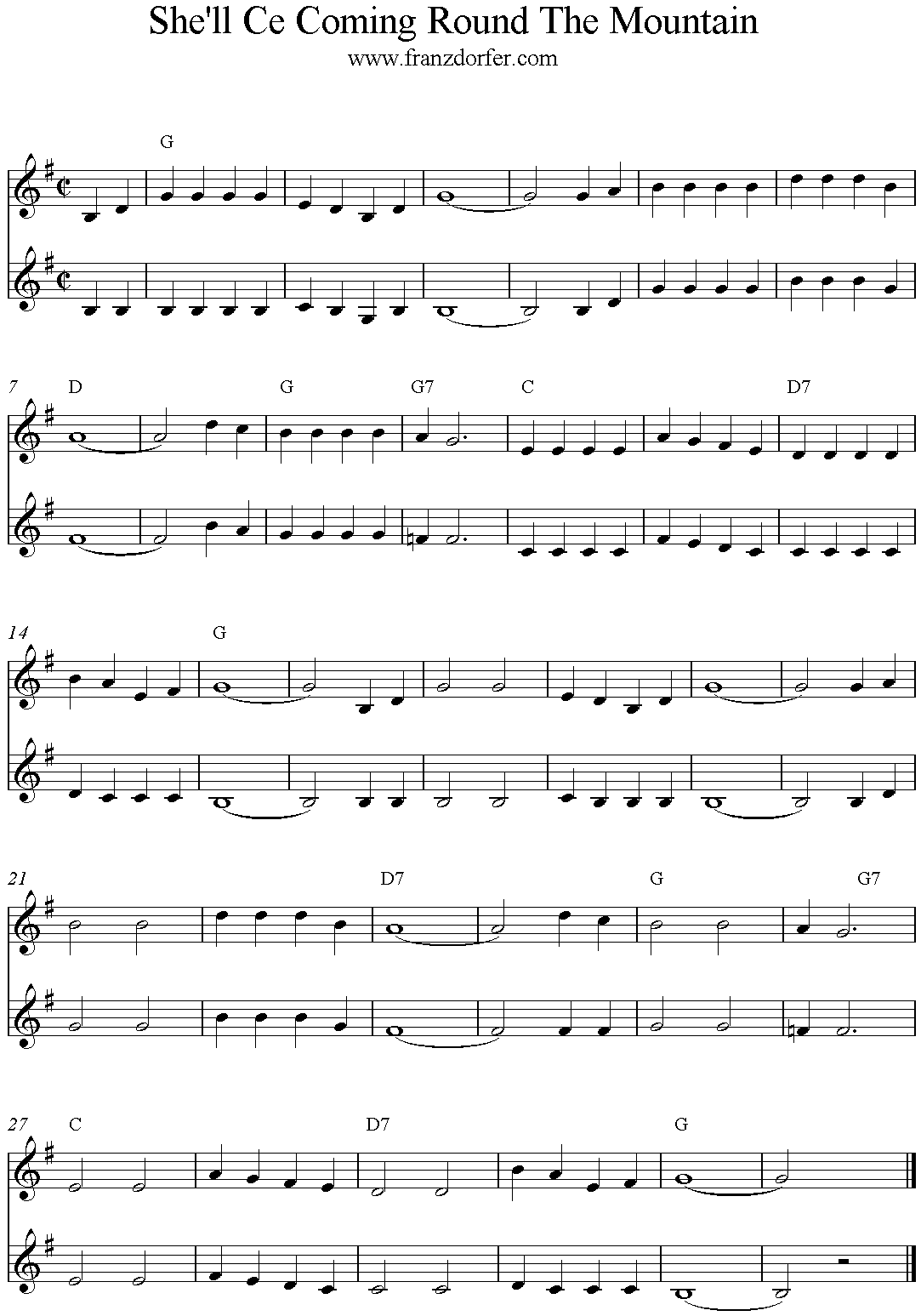 freesheet music PDF freesheet music She ll Ce Coming Round The Mountain