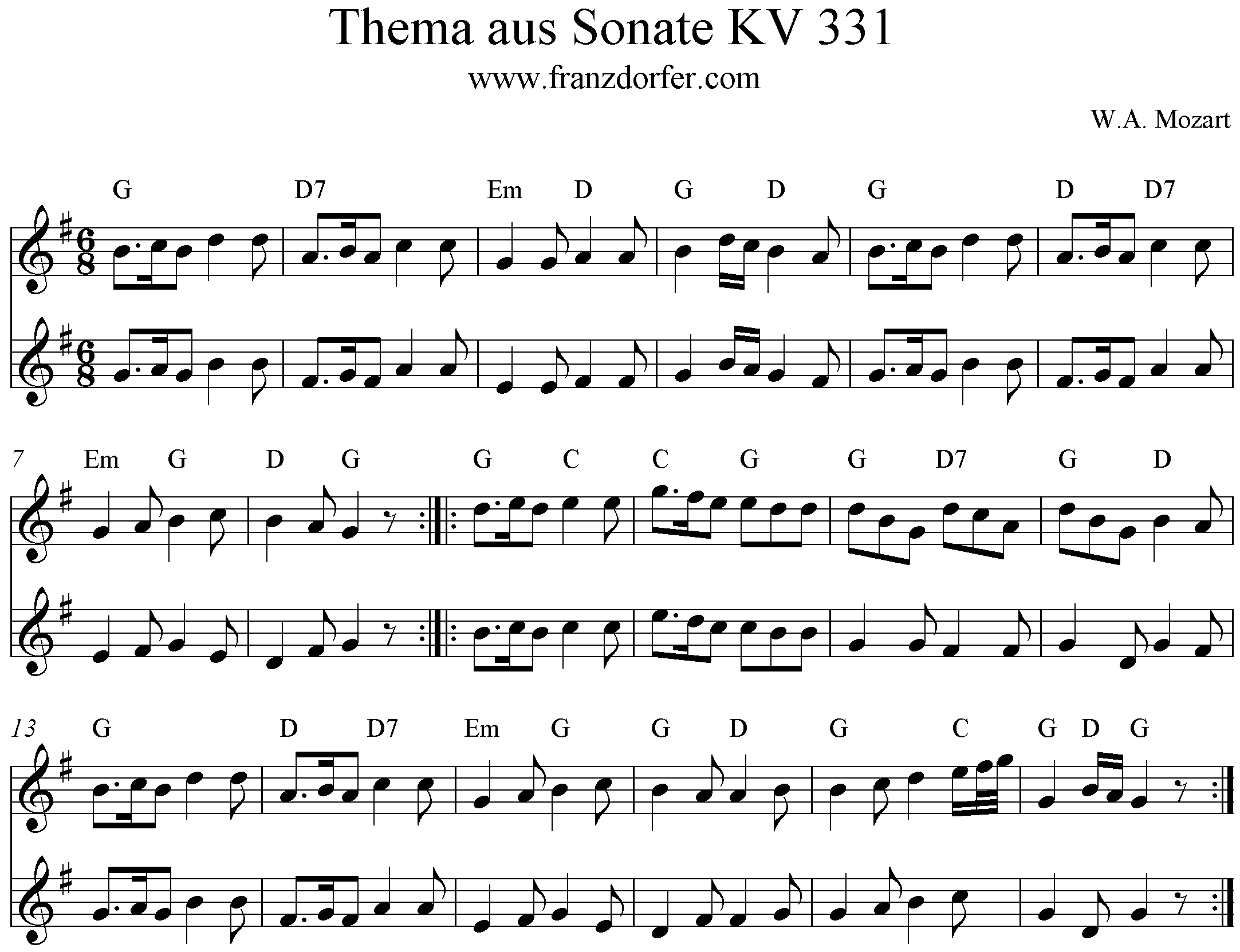 Noten Sonate KV331 Thema