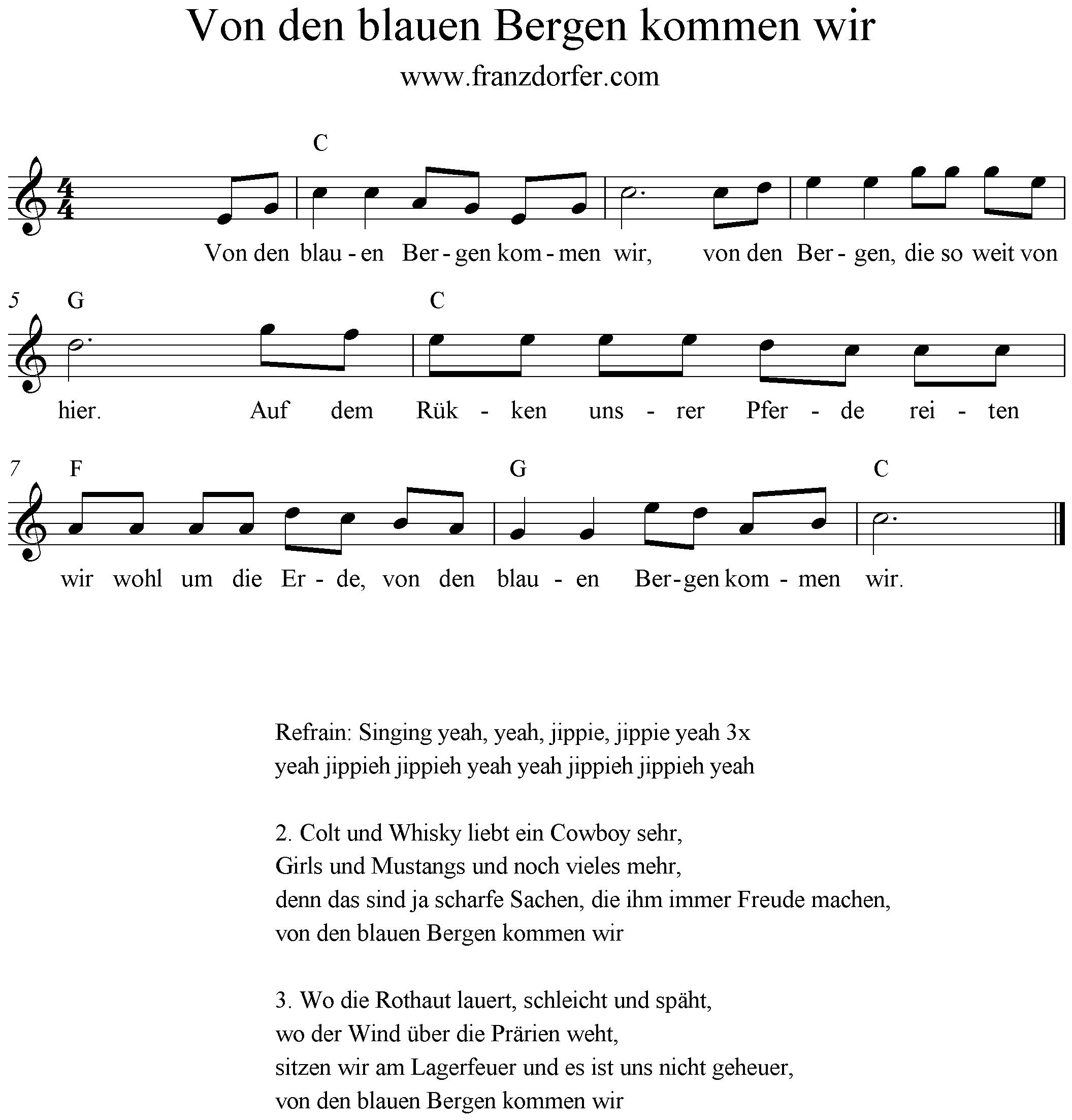 Noten, Blockflöte, C-Dur, Von den blauen Bergen