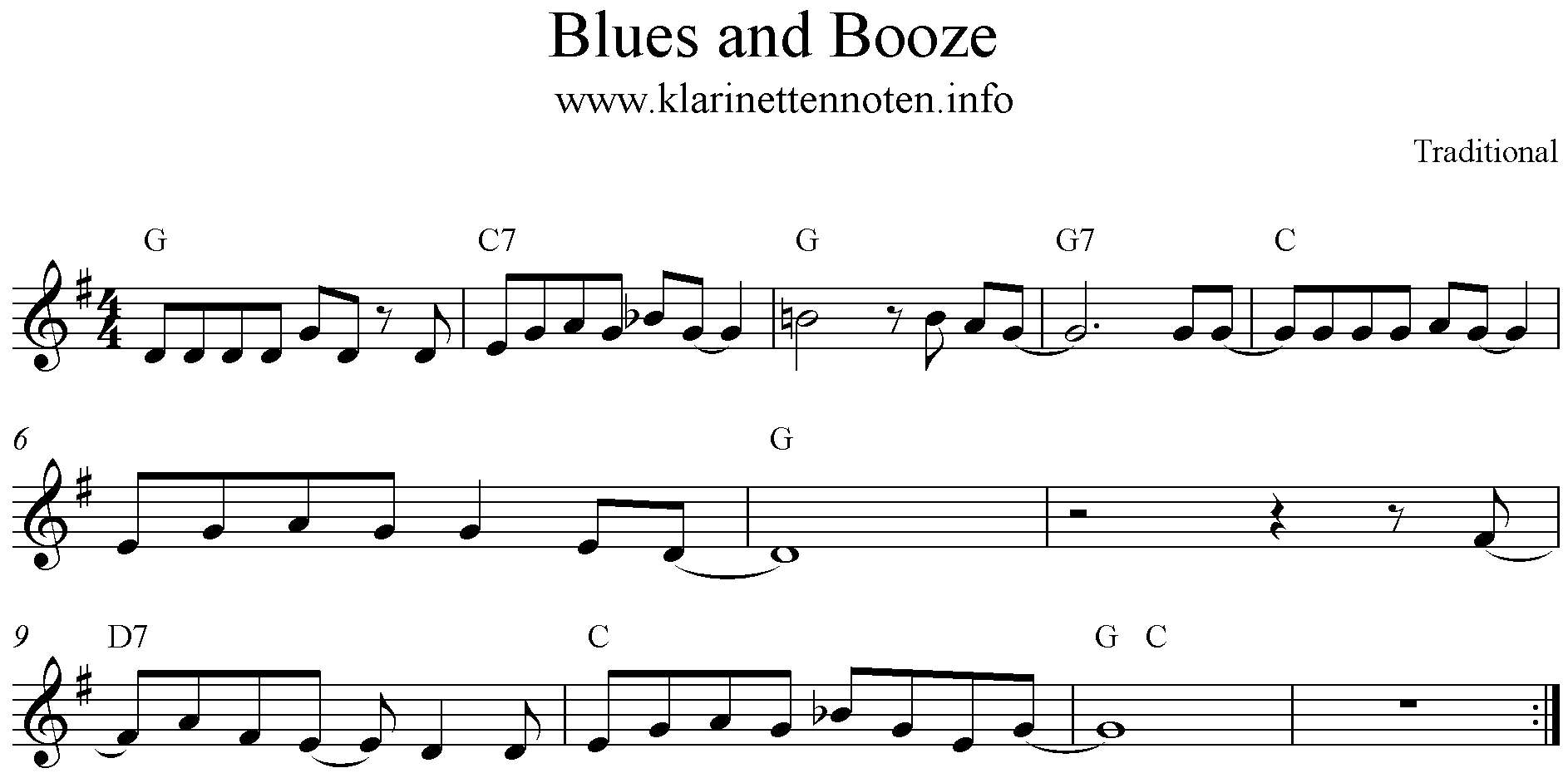 Blues and Booze, Noten, G-Dur