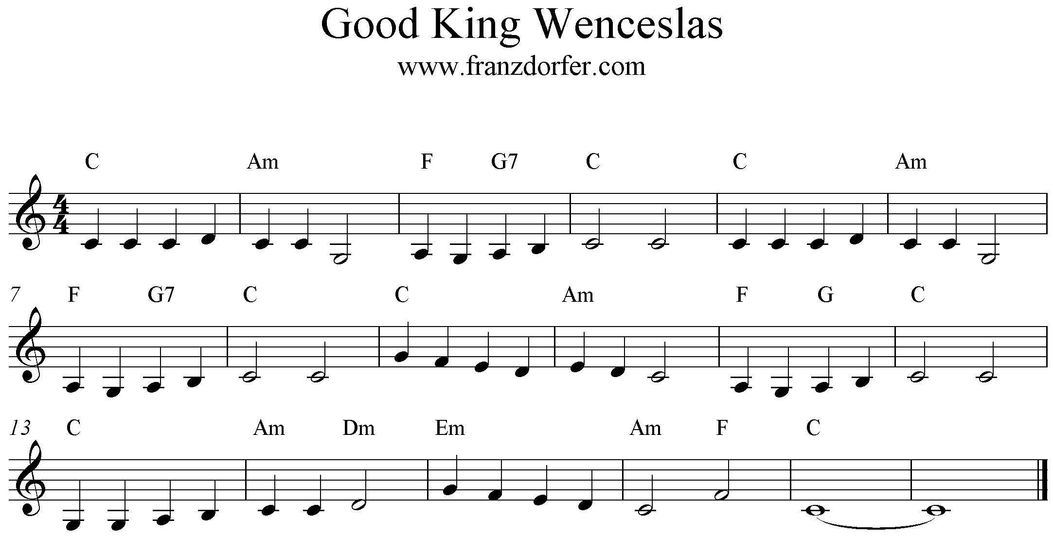 C-Major, Sheetmusic, Good King Wenceslas