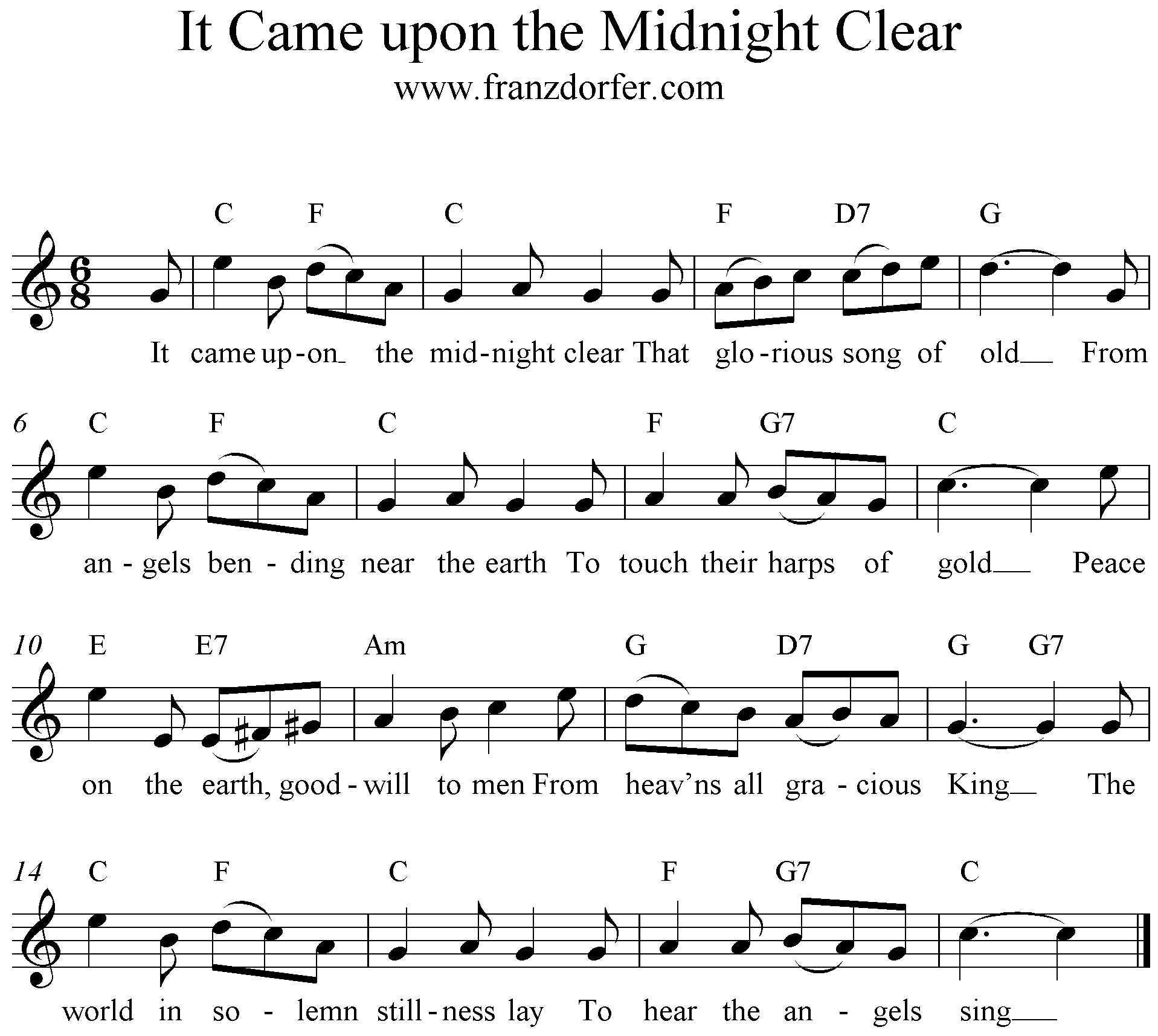 C-Dur, It Came Upon the Midnight Clear, Noten, freesheetmusic