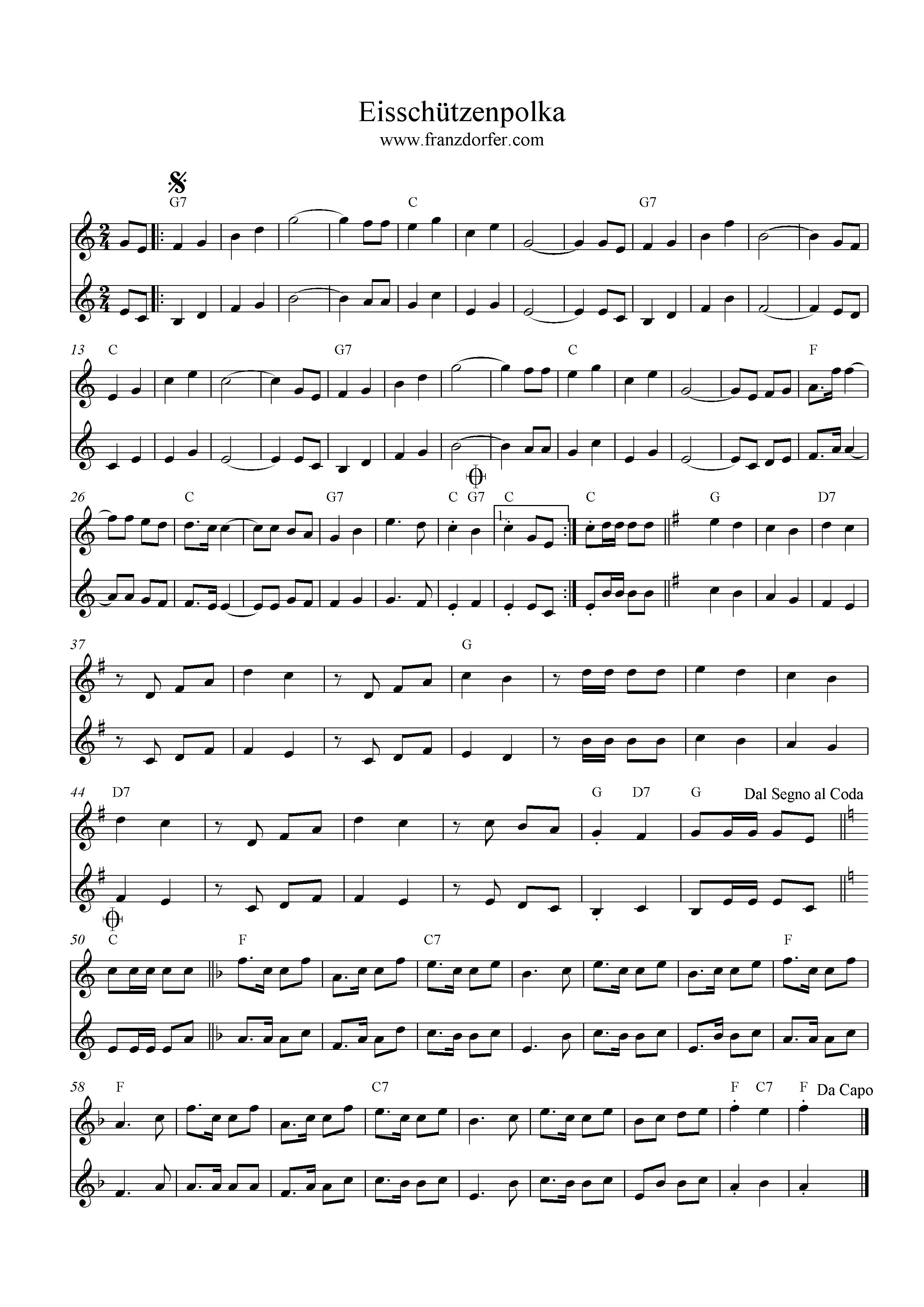 Noten Eisschützenpolka, C-Dur, Klarinettenduo