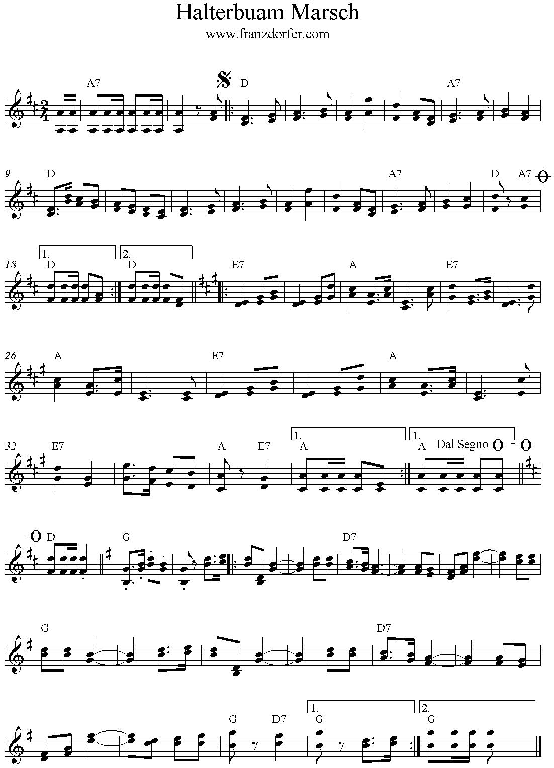 Noten Halterbuam Marsch 2stimmig, D-Dur, Klarinette