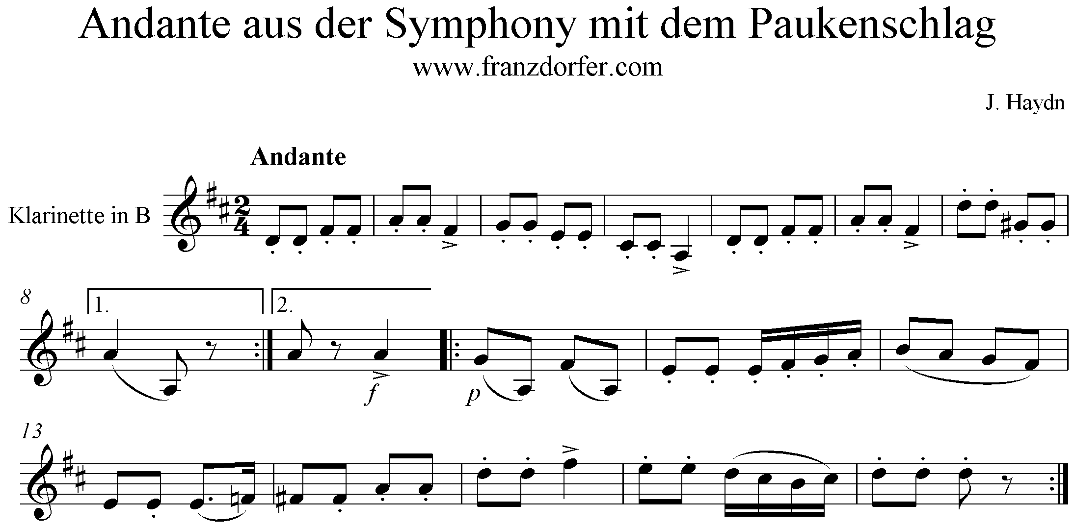Freesheet Theme Andante Symphony mit dem Paukenschlag