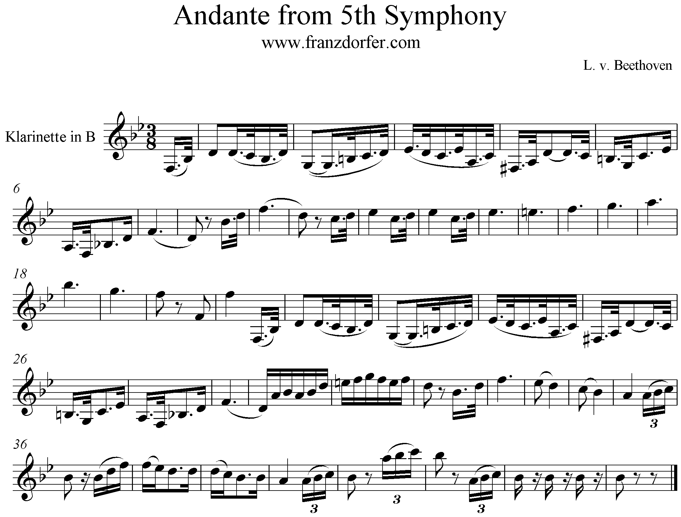andante from 5th symphony beethoven, Clarinet freesheetmusic