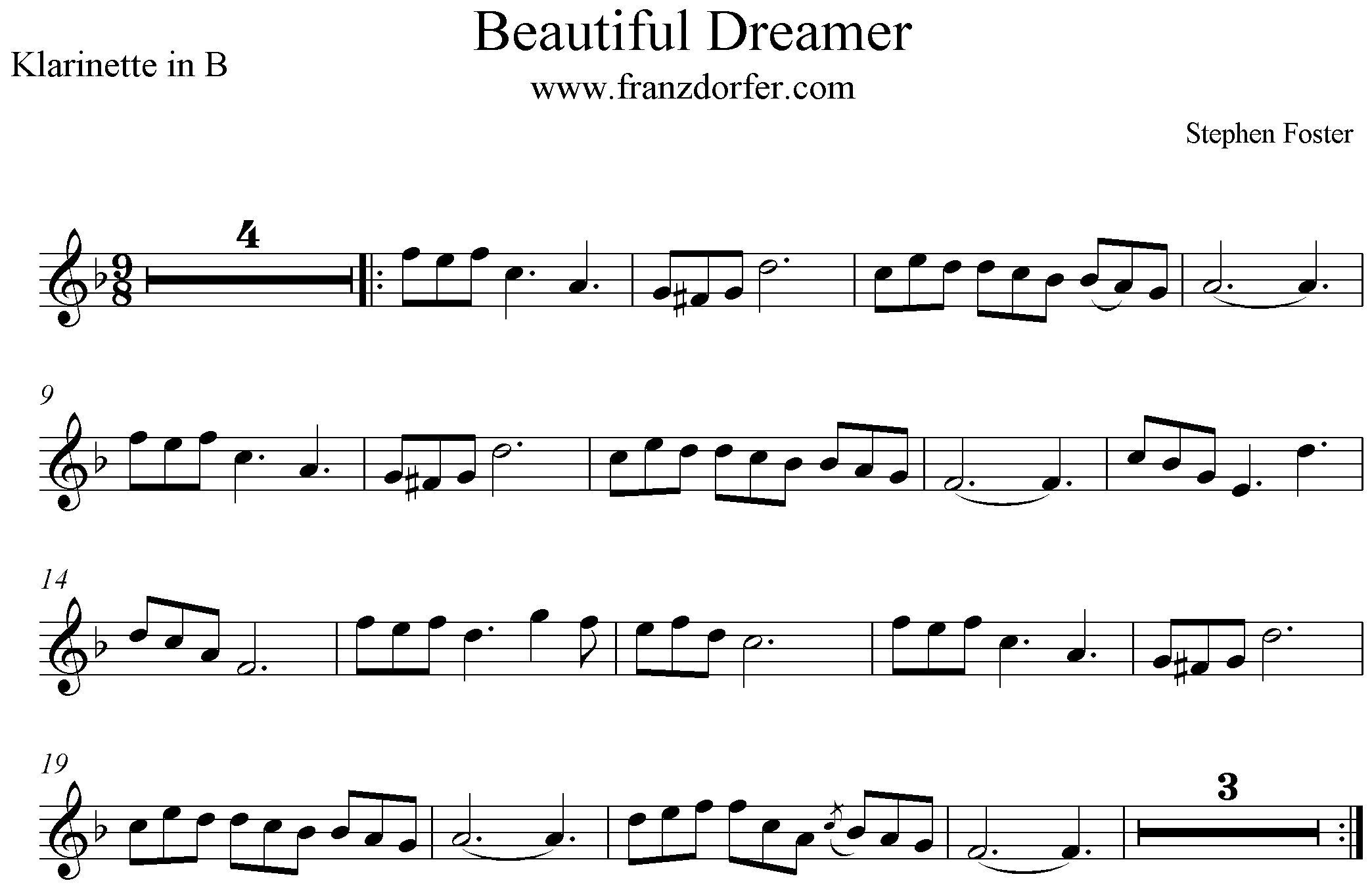 Noten Beautiful Dreamer