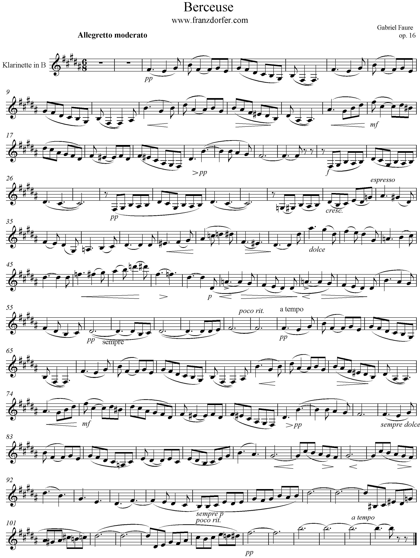 Berceuse Faure Clarinet