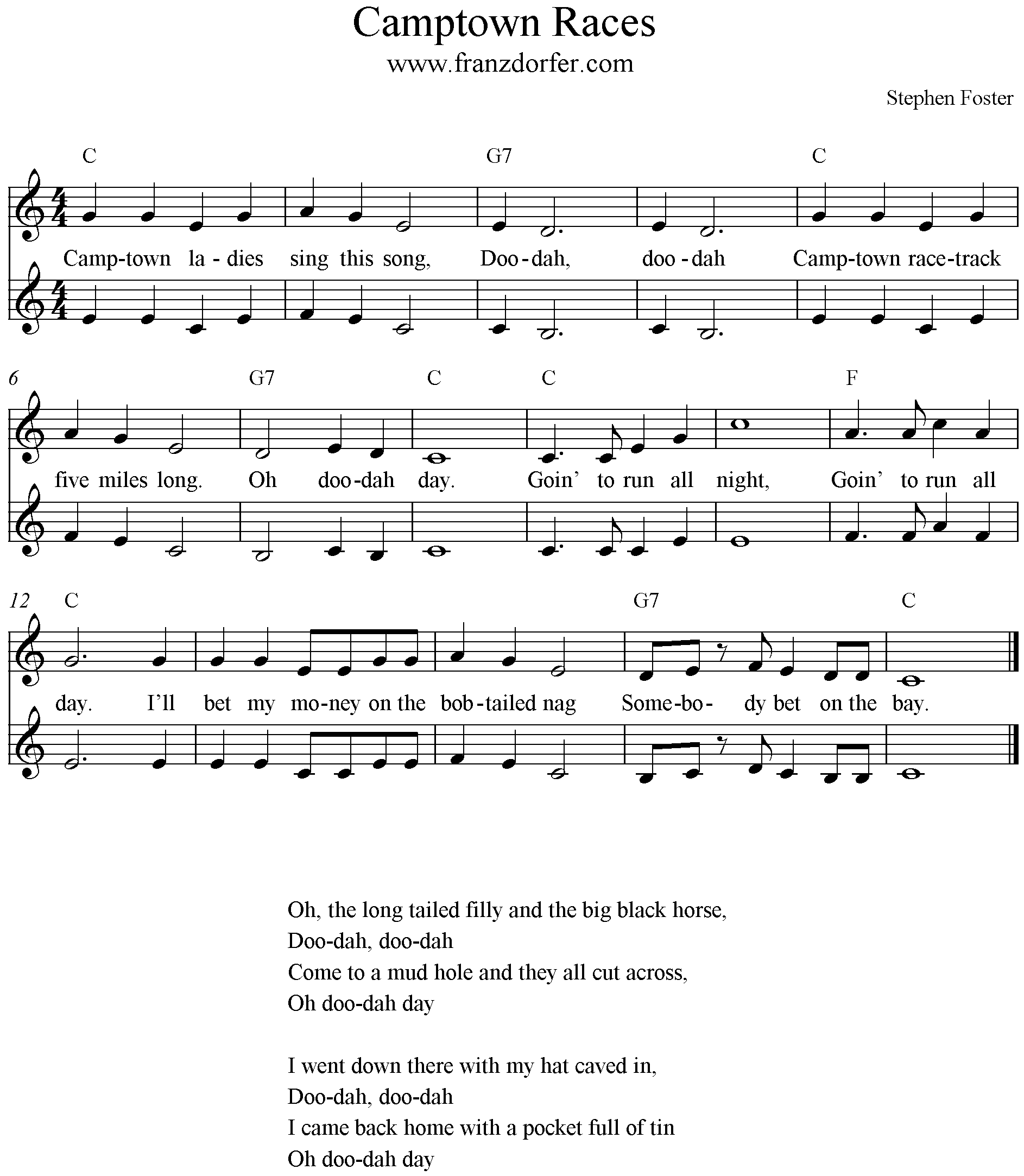 Sheetmusic Camptown Races