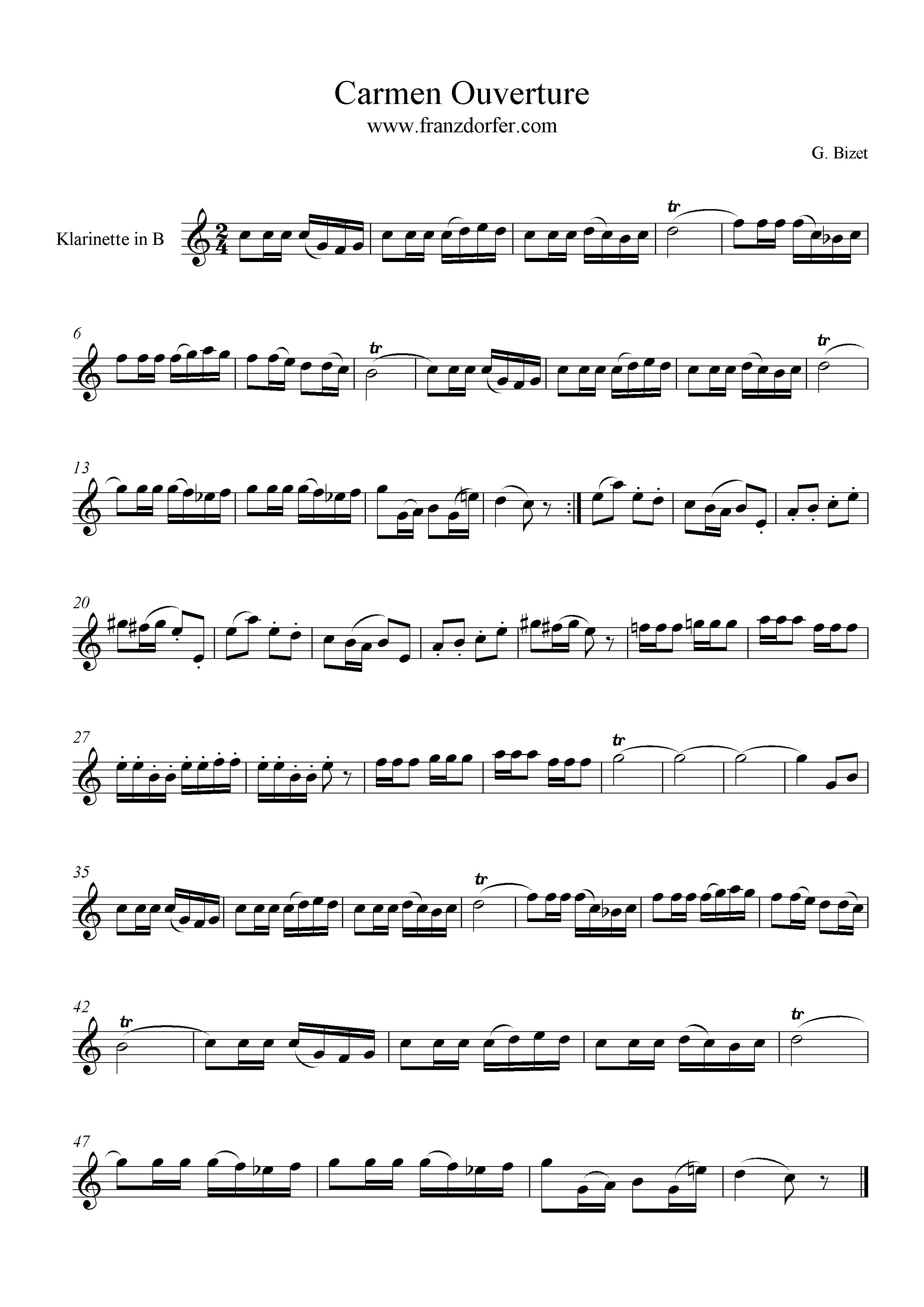 Clarinet Carmen Ouverture