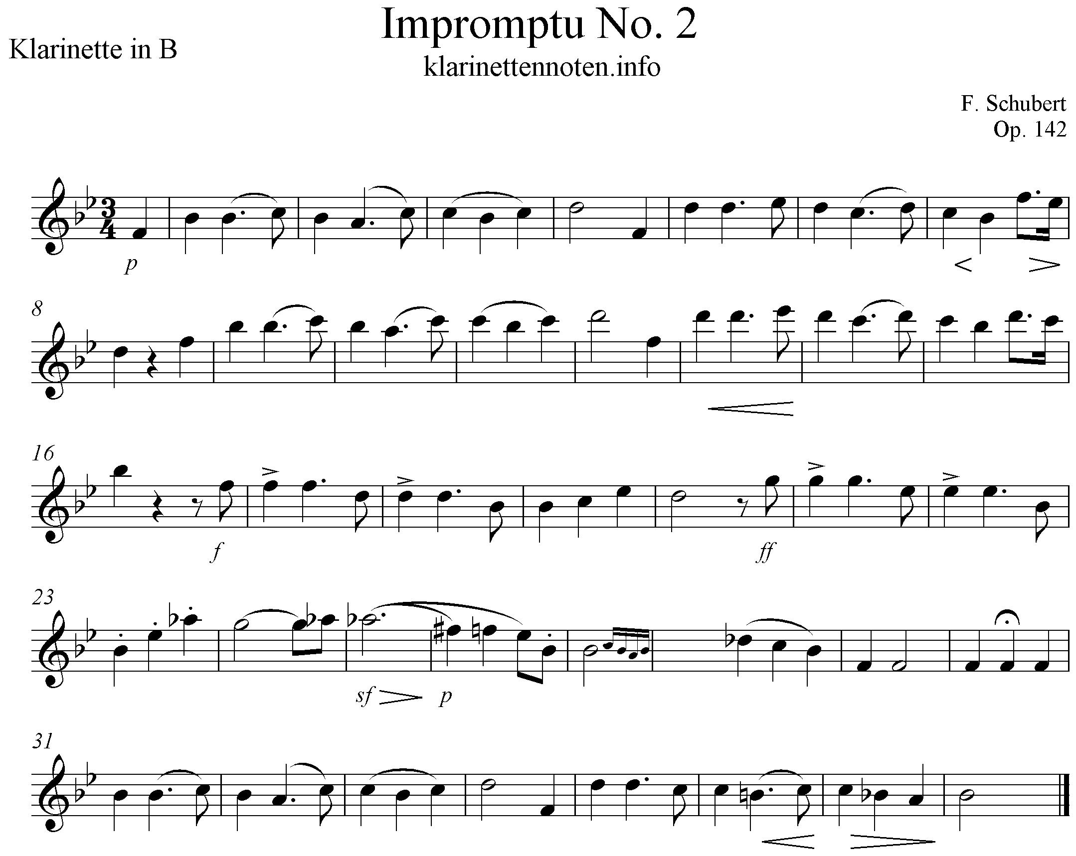 freesheet for Clarinet, impromptu No2