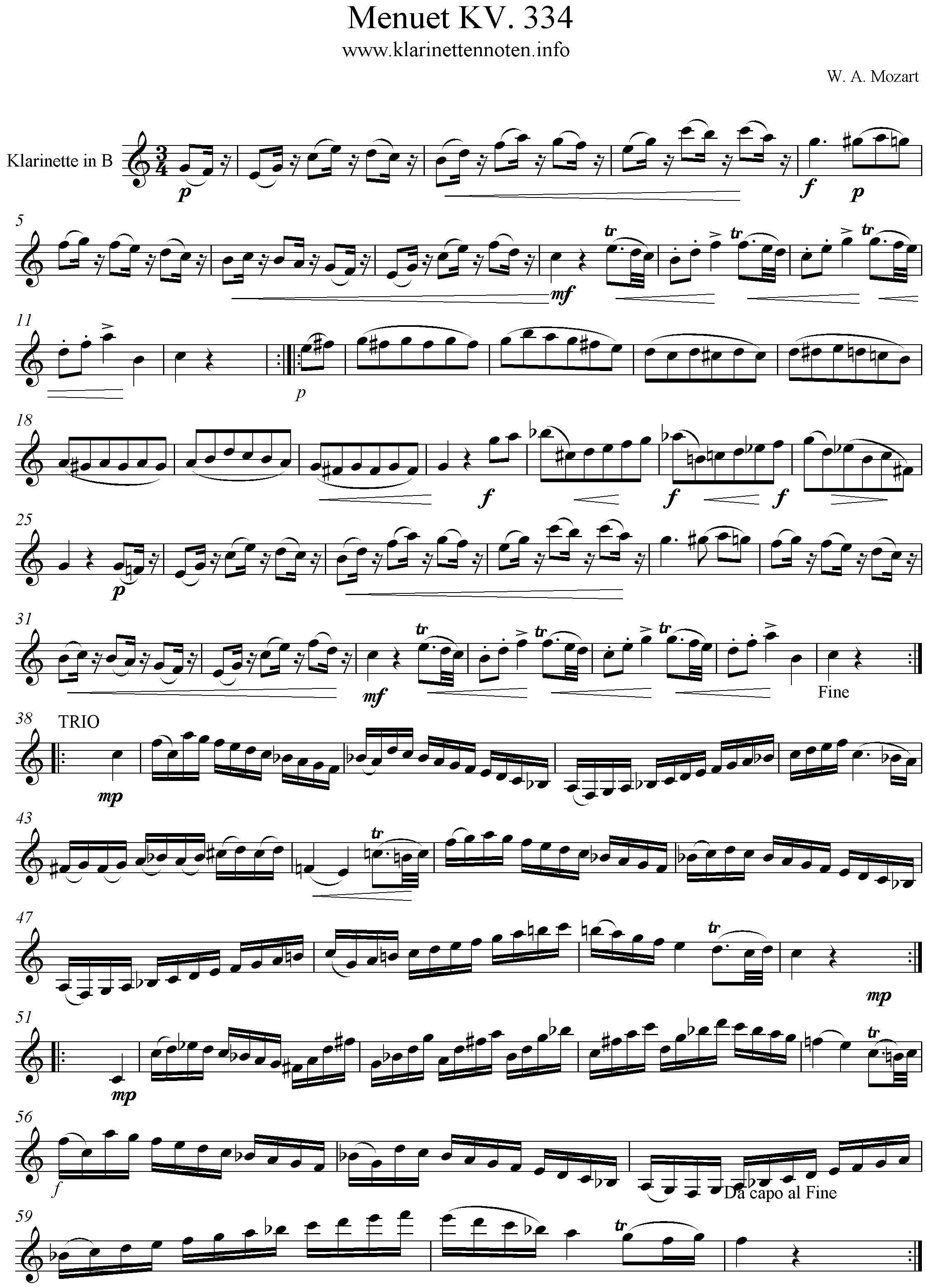Freesheet Clarinet Menuet KV 334