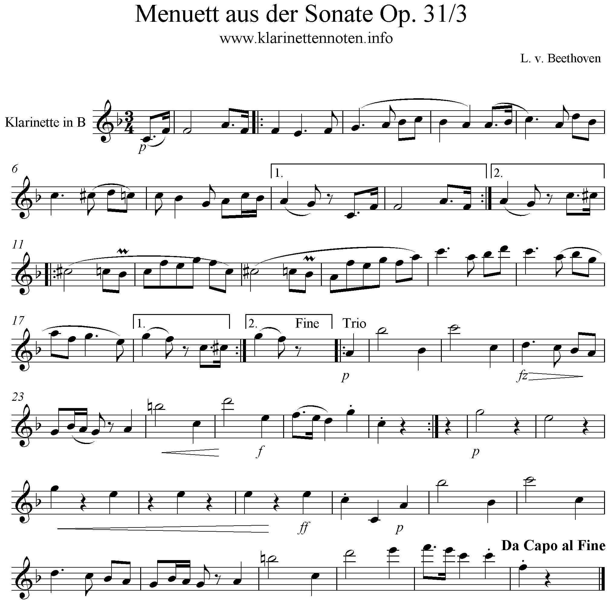 Menuet aus sonate op. 31/3 Solopart