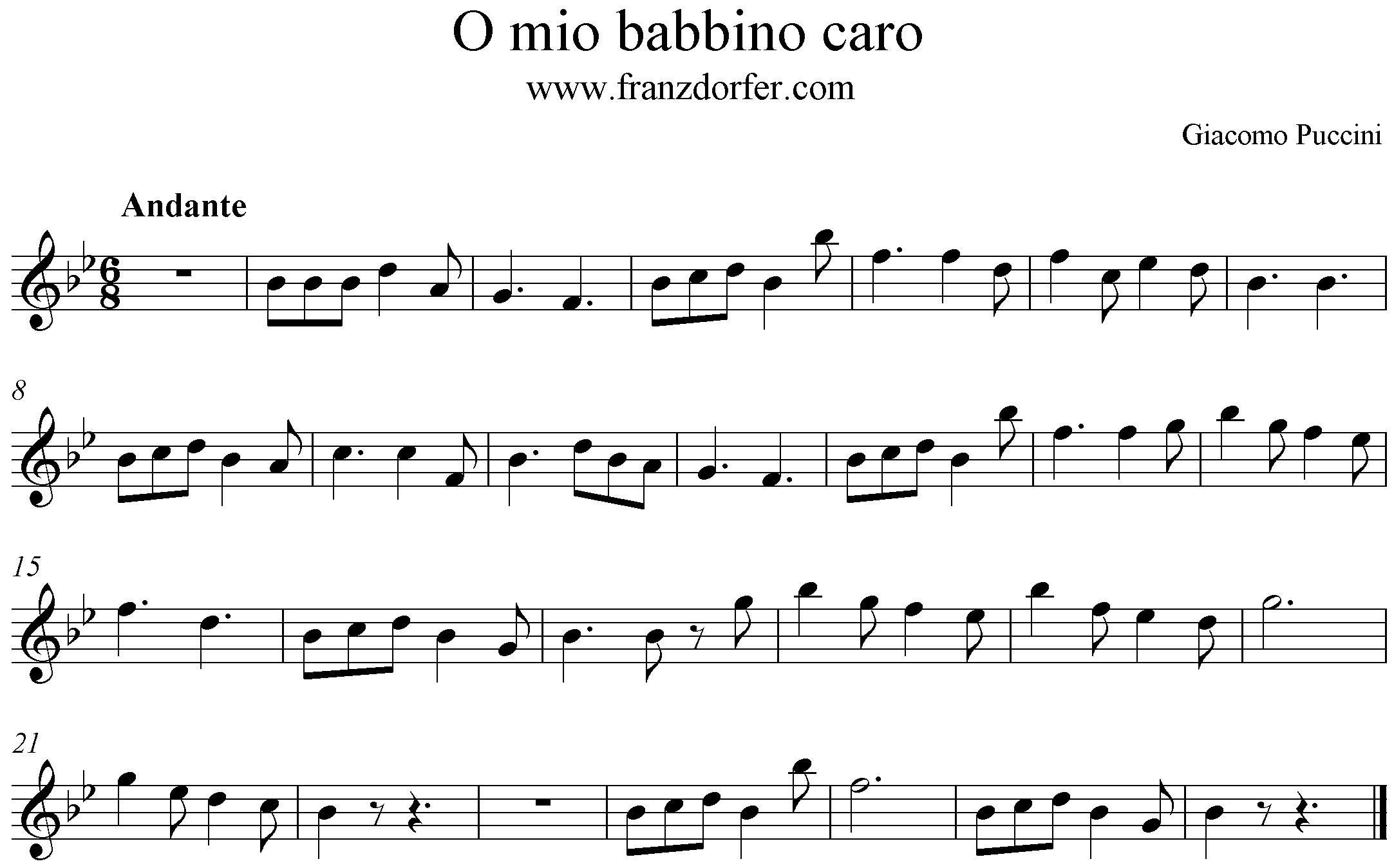 freesheet o mio babbino caro Clarinet
