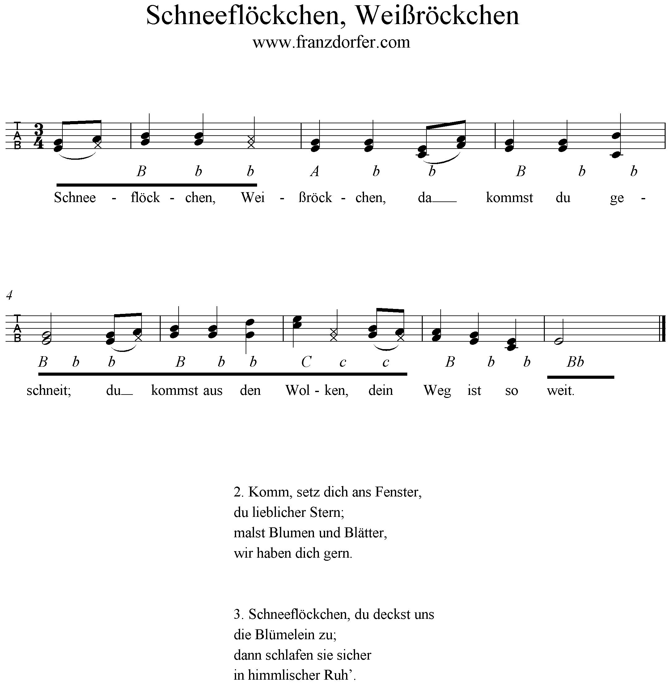 Weihnachtslieder Noten Für Glockenspiel.Schneeflöckchen Weißröckchen