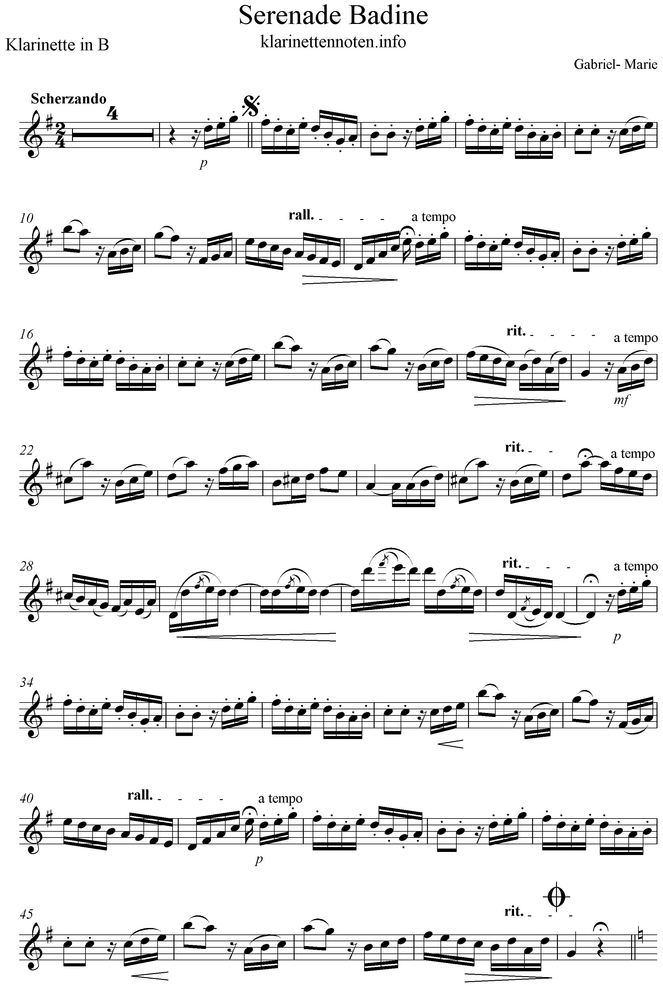 serenade badine solopart