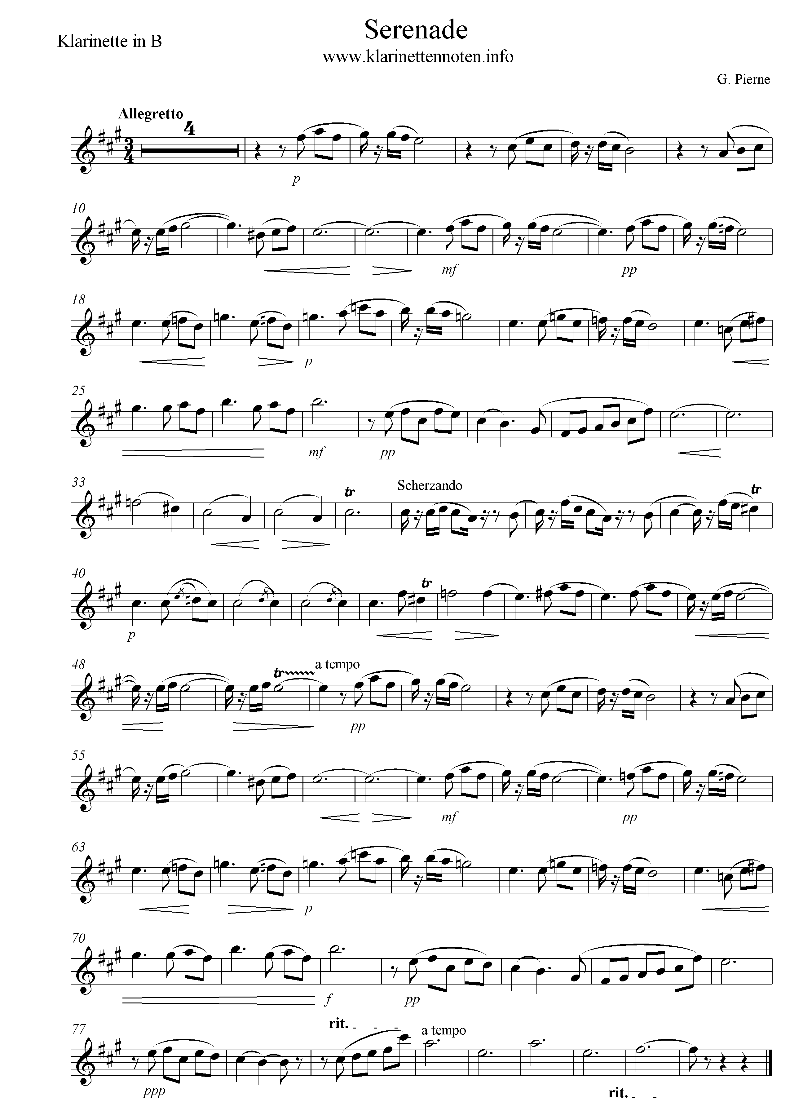 Freesheet Serenade Pierne Solo part