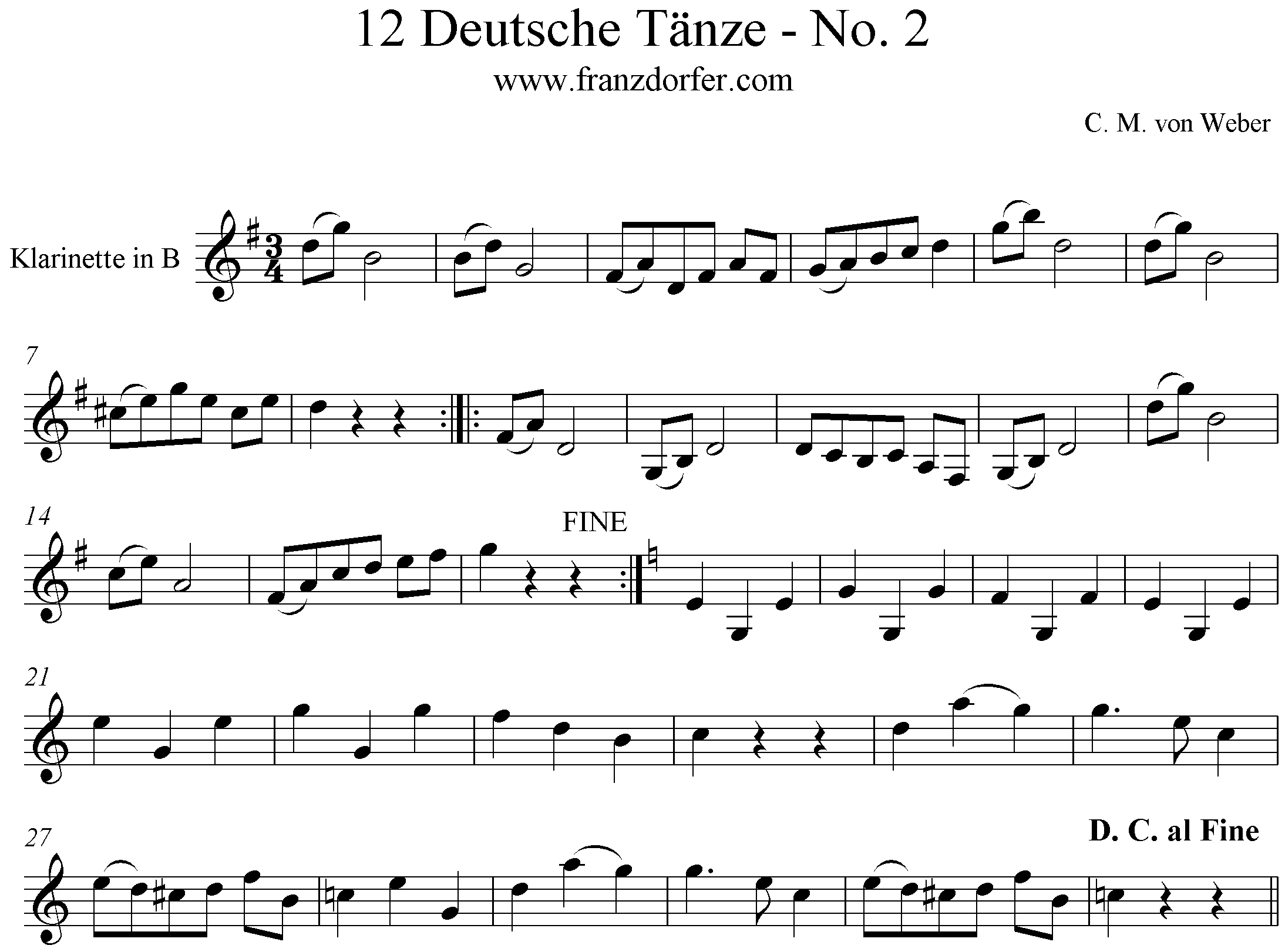 Noten 12 Deutsche Tänze - No2- Clarinet