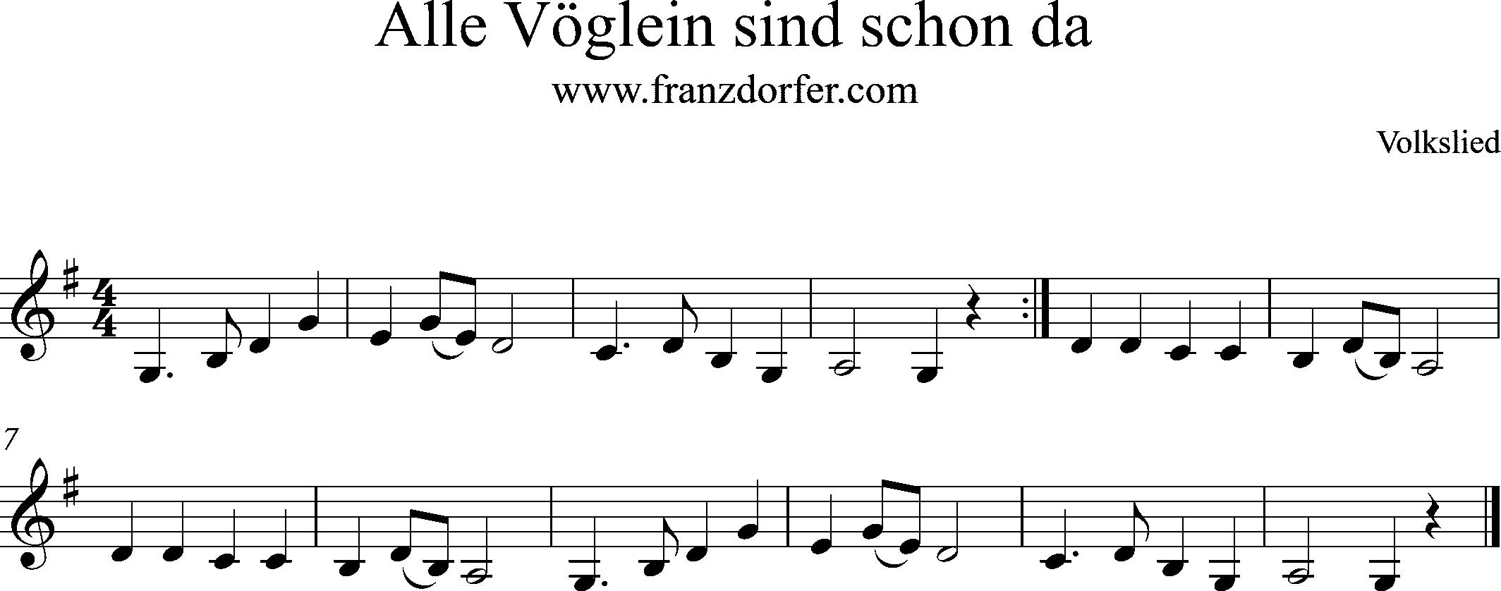 Alle Vöglein- Klarinette Anfänger