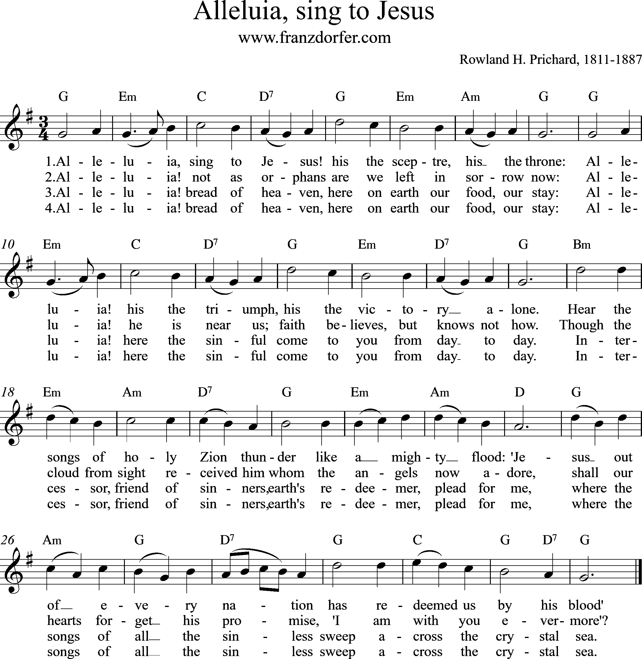 sheetmusic, Alleluia, sing to Jesus