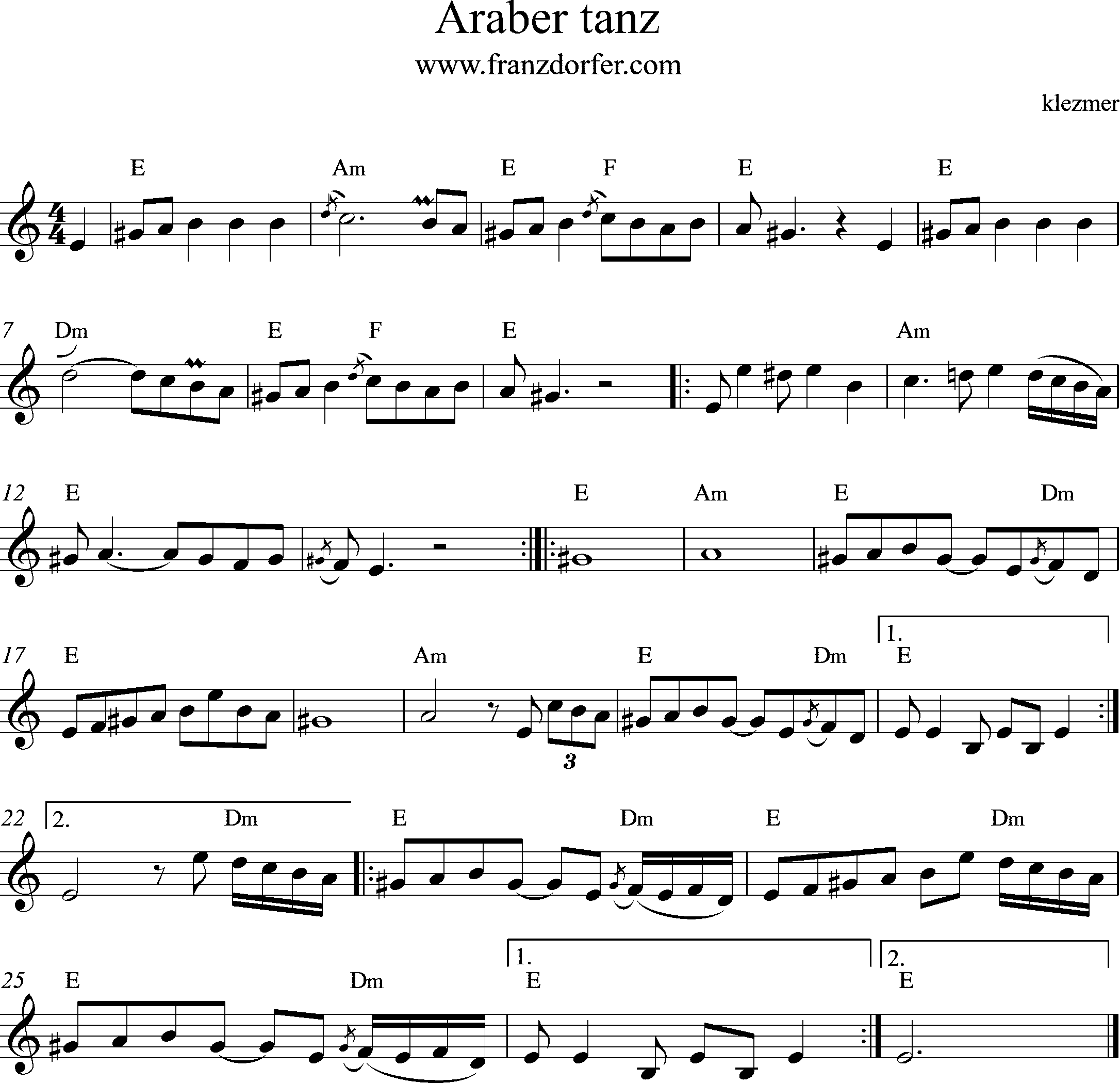 sheetmusic Araber tanz