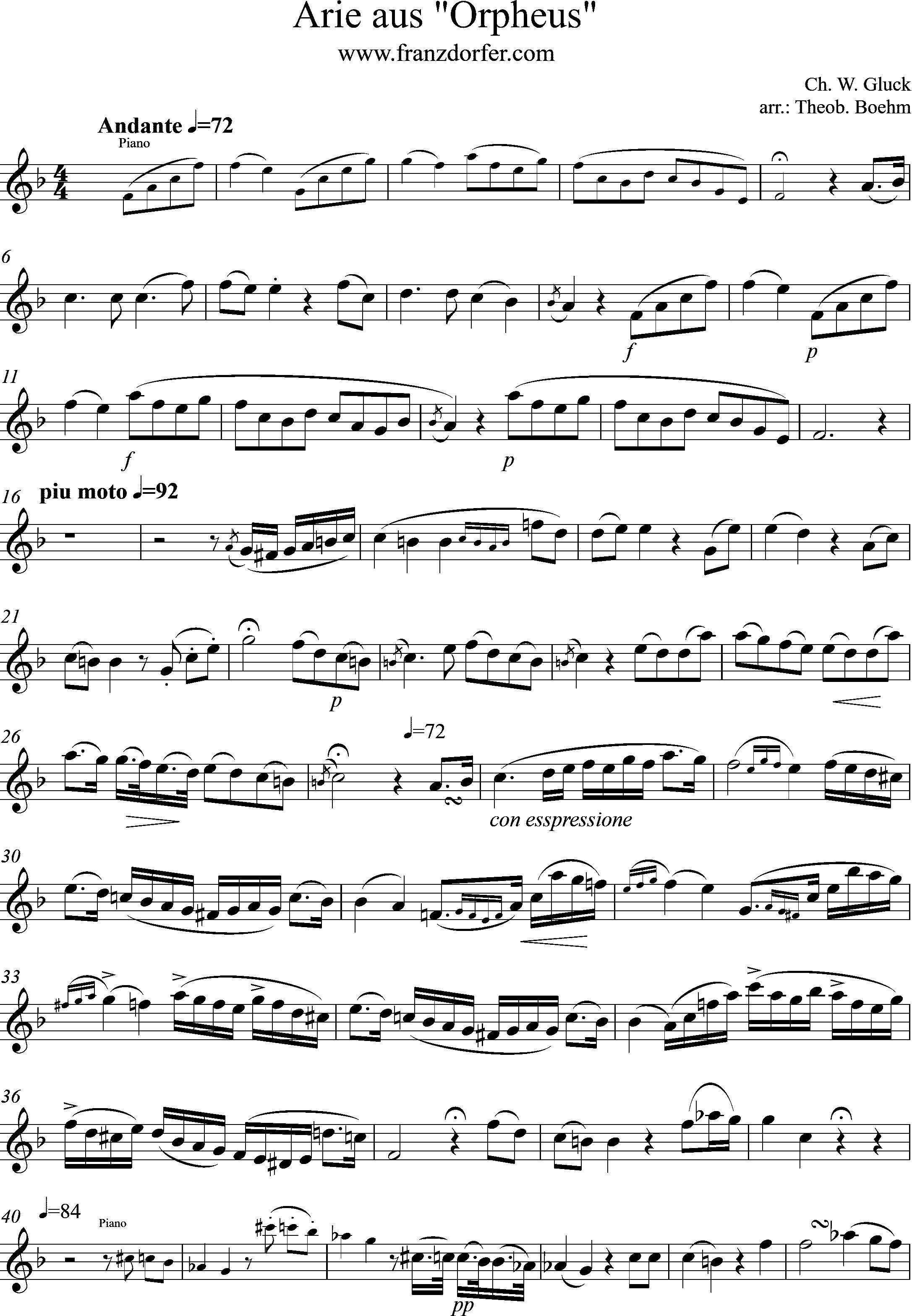 Freesheet Solopart Arie aus Orpheus