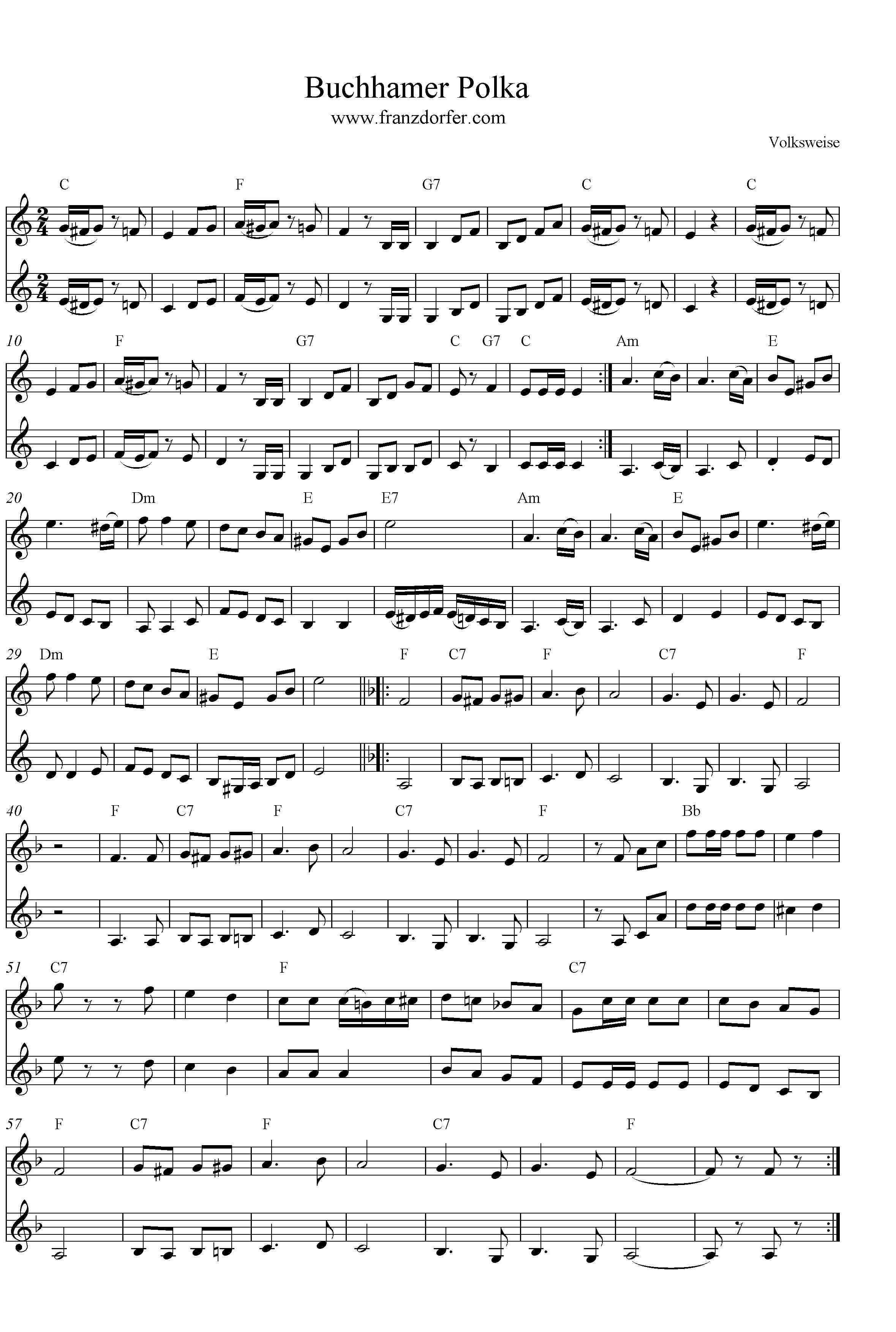 Noten Buchhamer Polka- C-Dur
