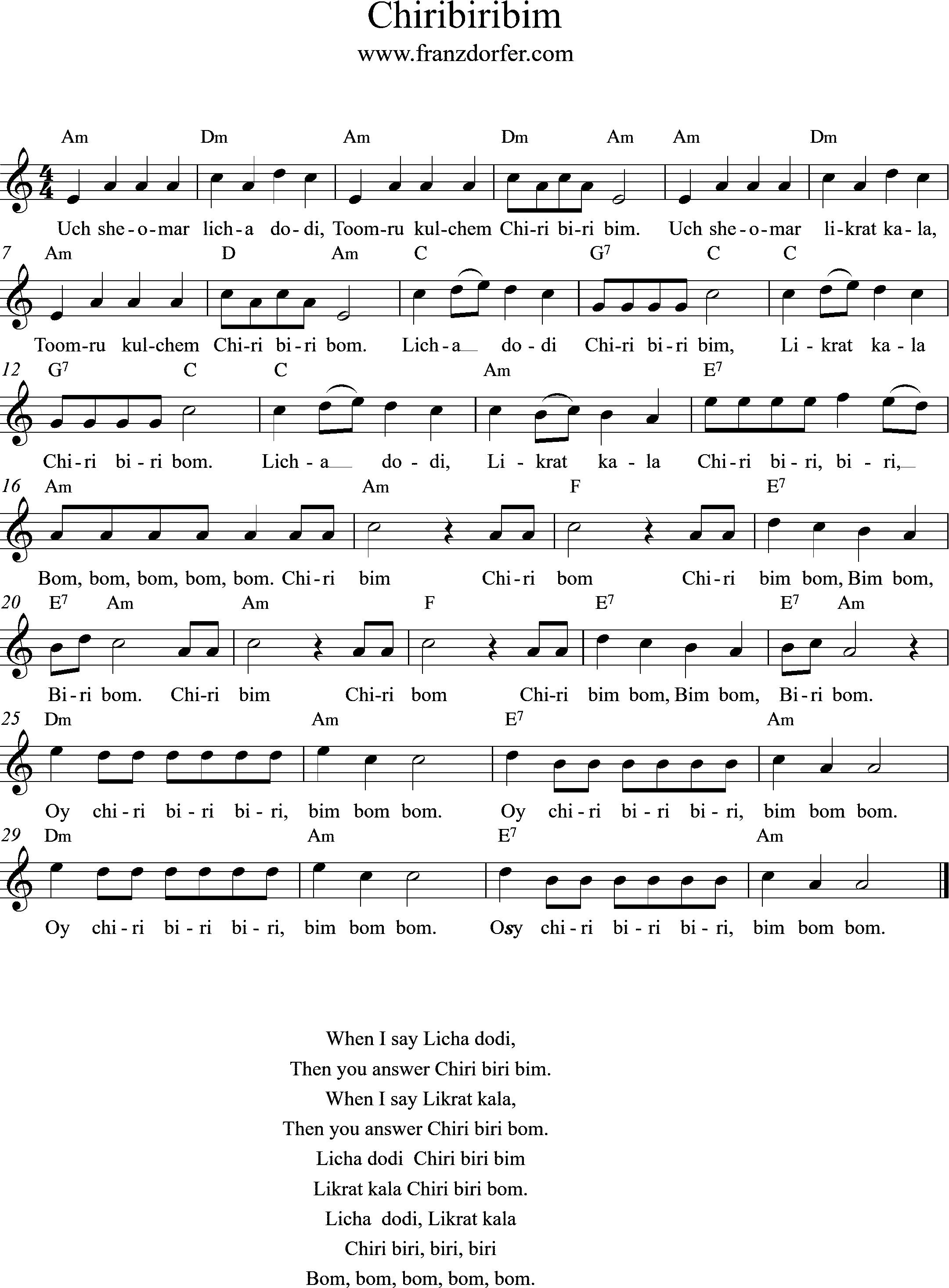 clarinet Chriribiribim