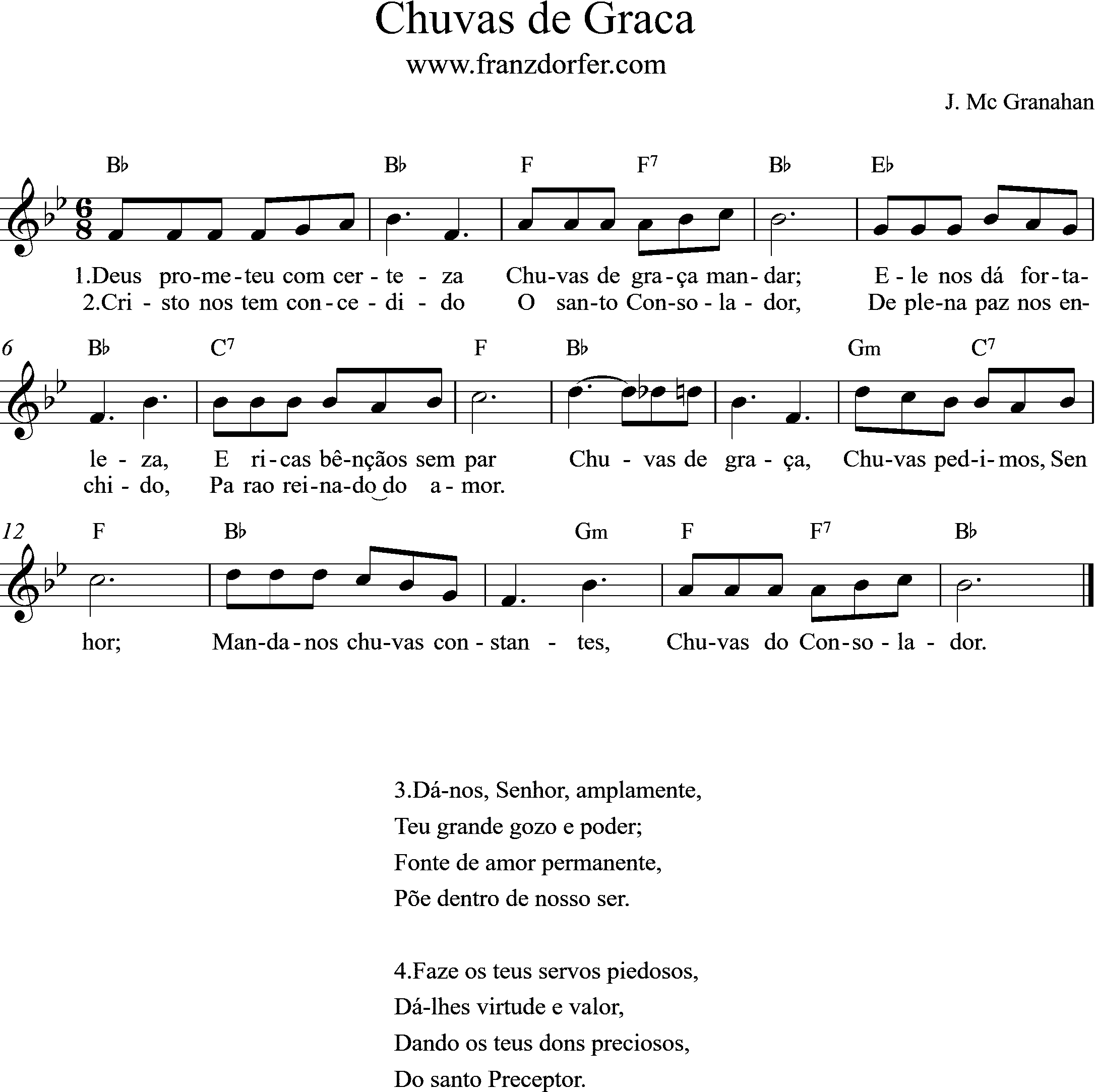 sheetmusic - Chuva de Graca