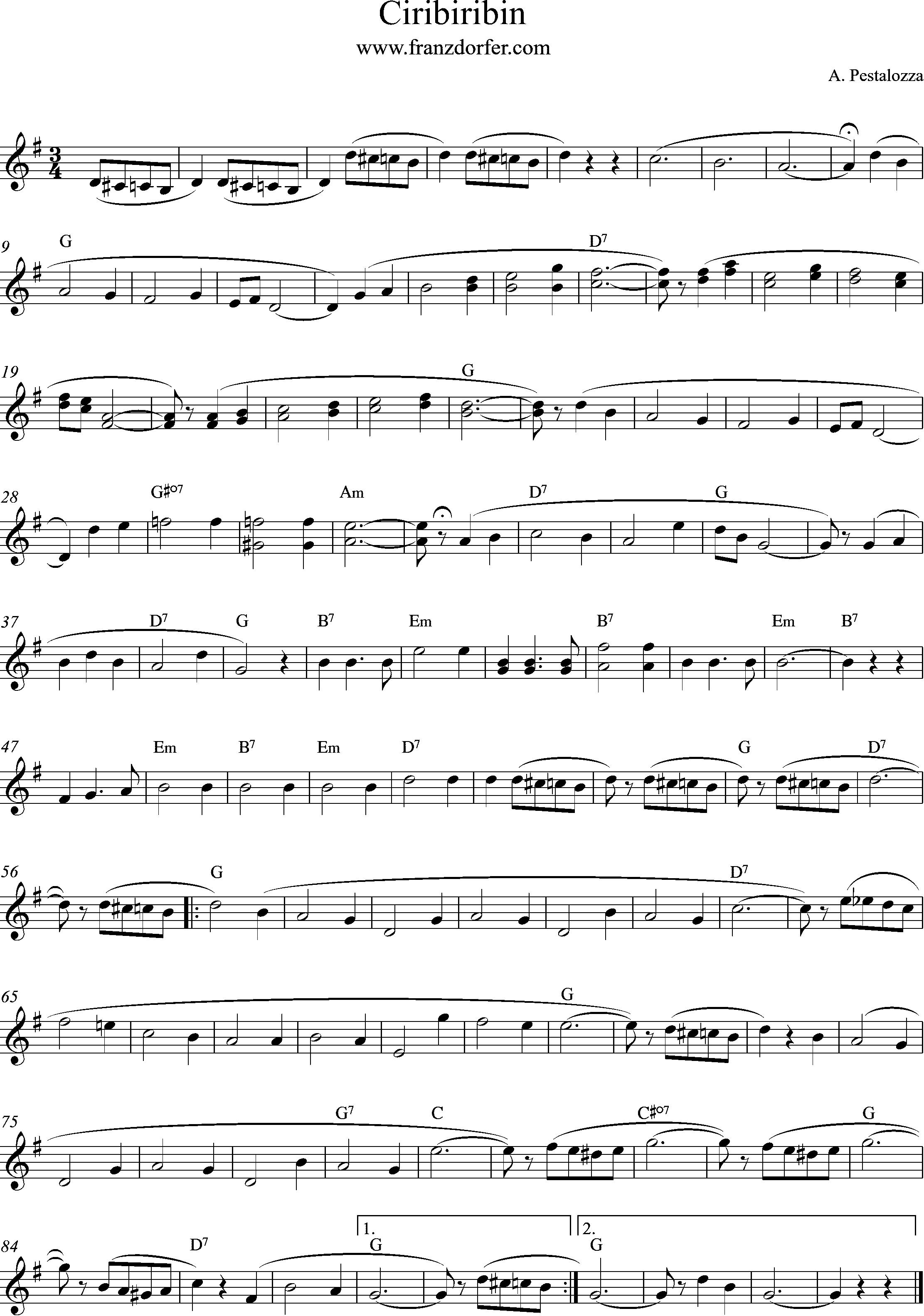 freesheet ciribiribin, G-Major