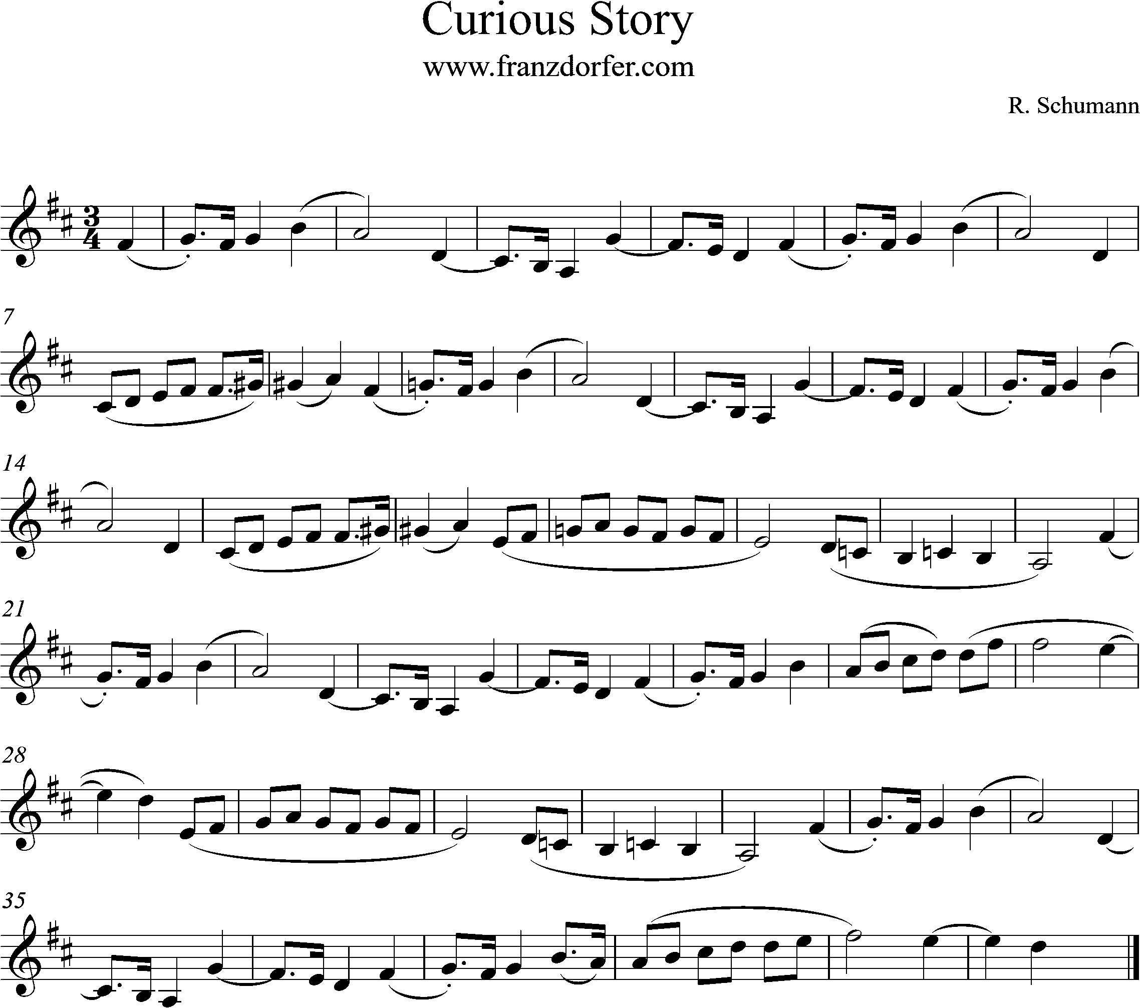 freesheetmusic Clarinet, Curious Story, D-Major