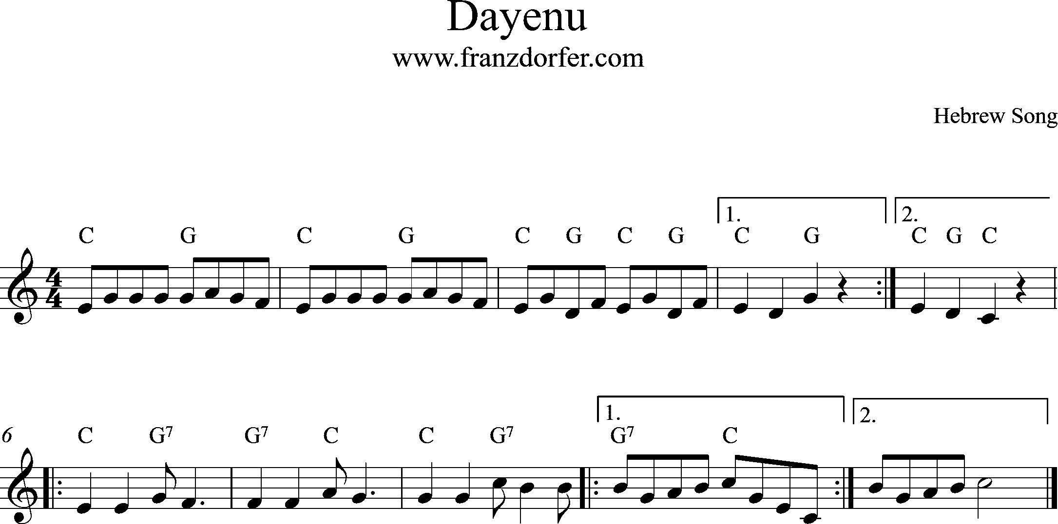 Sheetmusic, C-Major- Dayenu