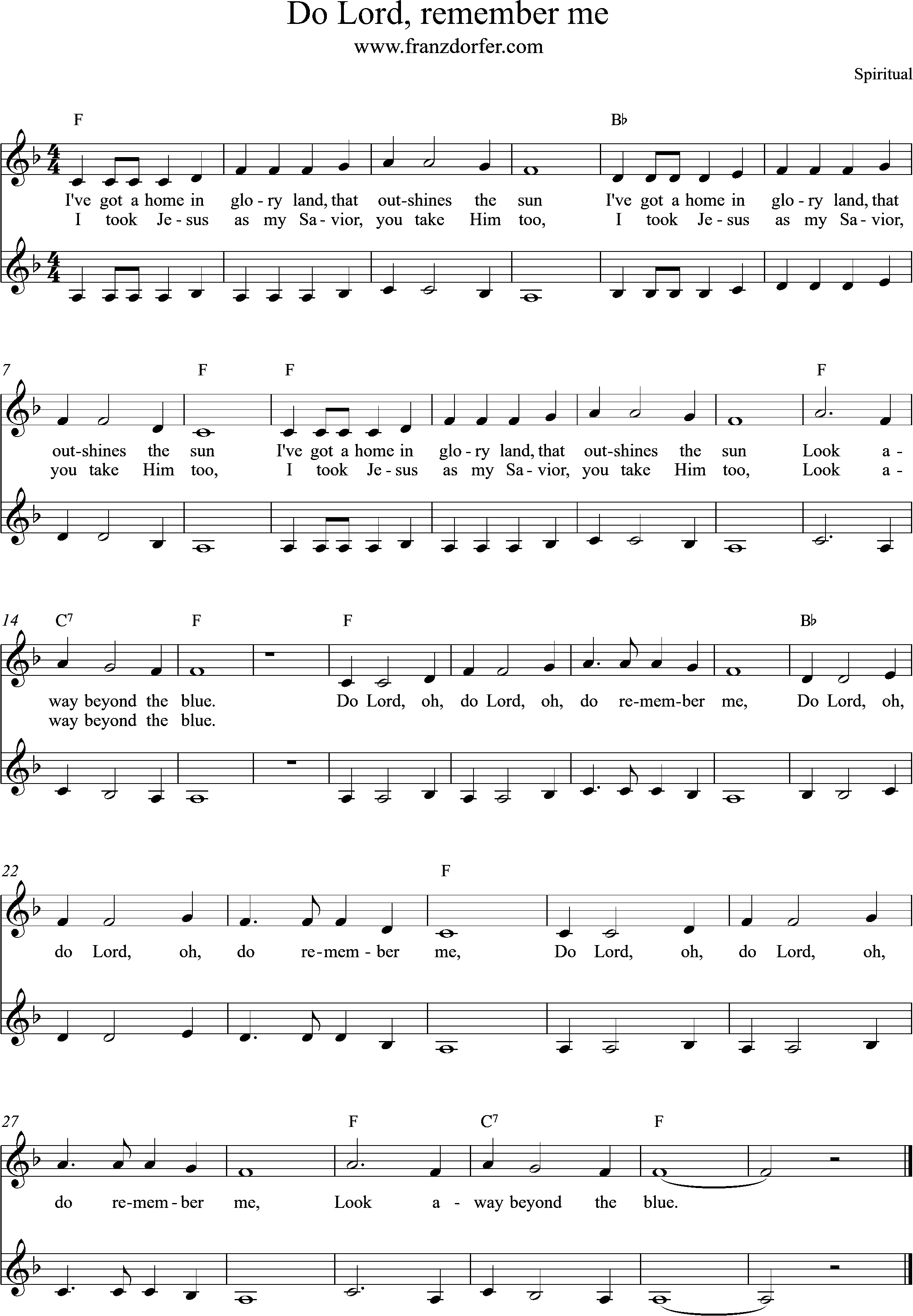 Sheetmusic, Do Lord remember me, F-Mjaor, Clarinent low