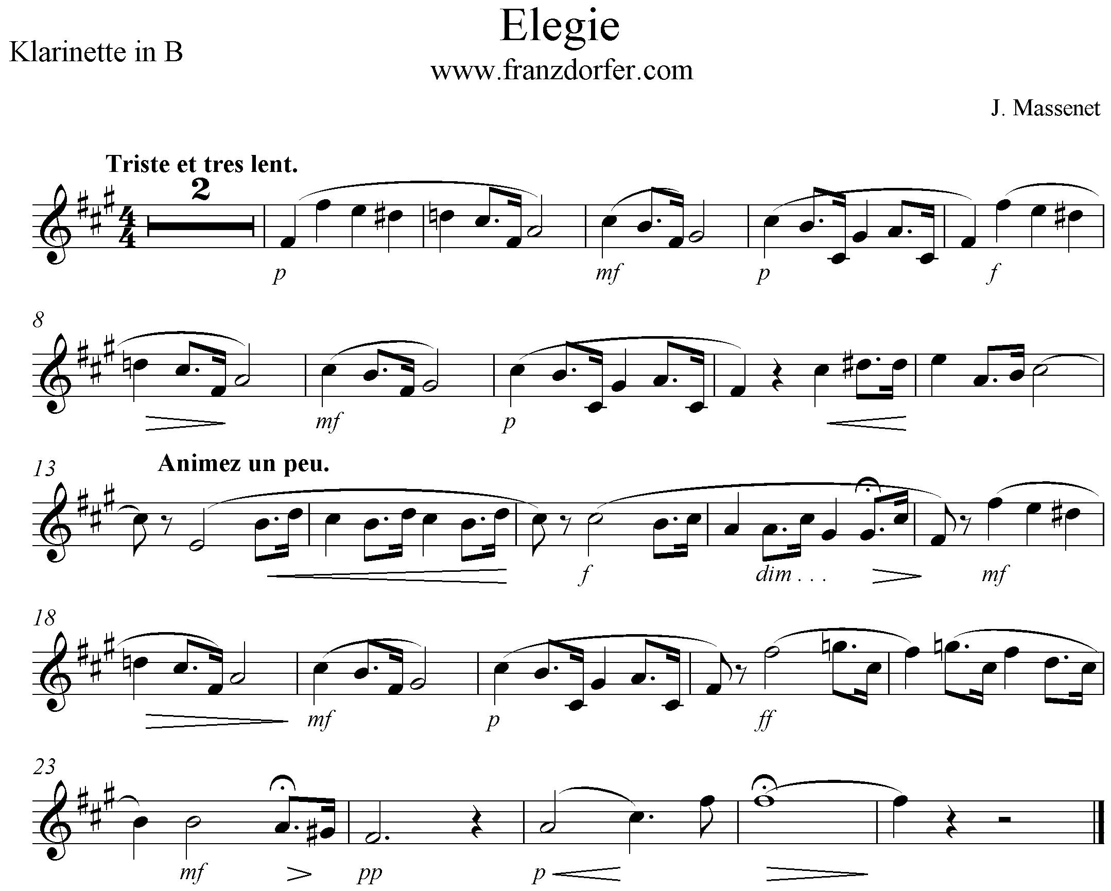 clarinet Elegie Massenet