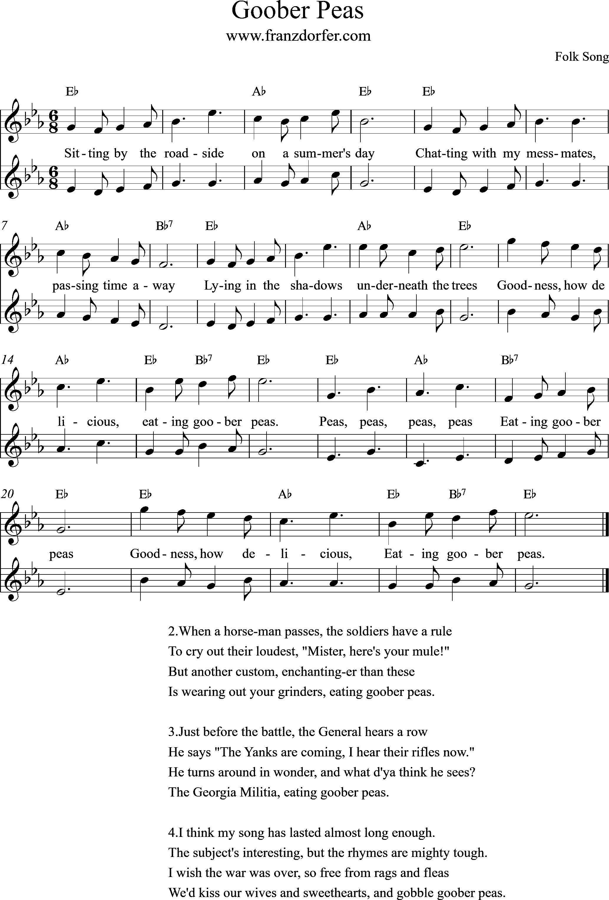 Goober Peas, Eb-Major, Duo